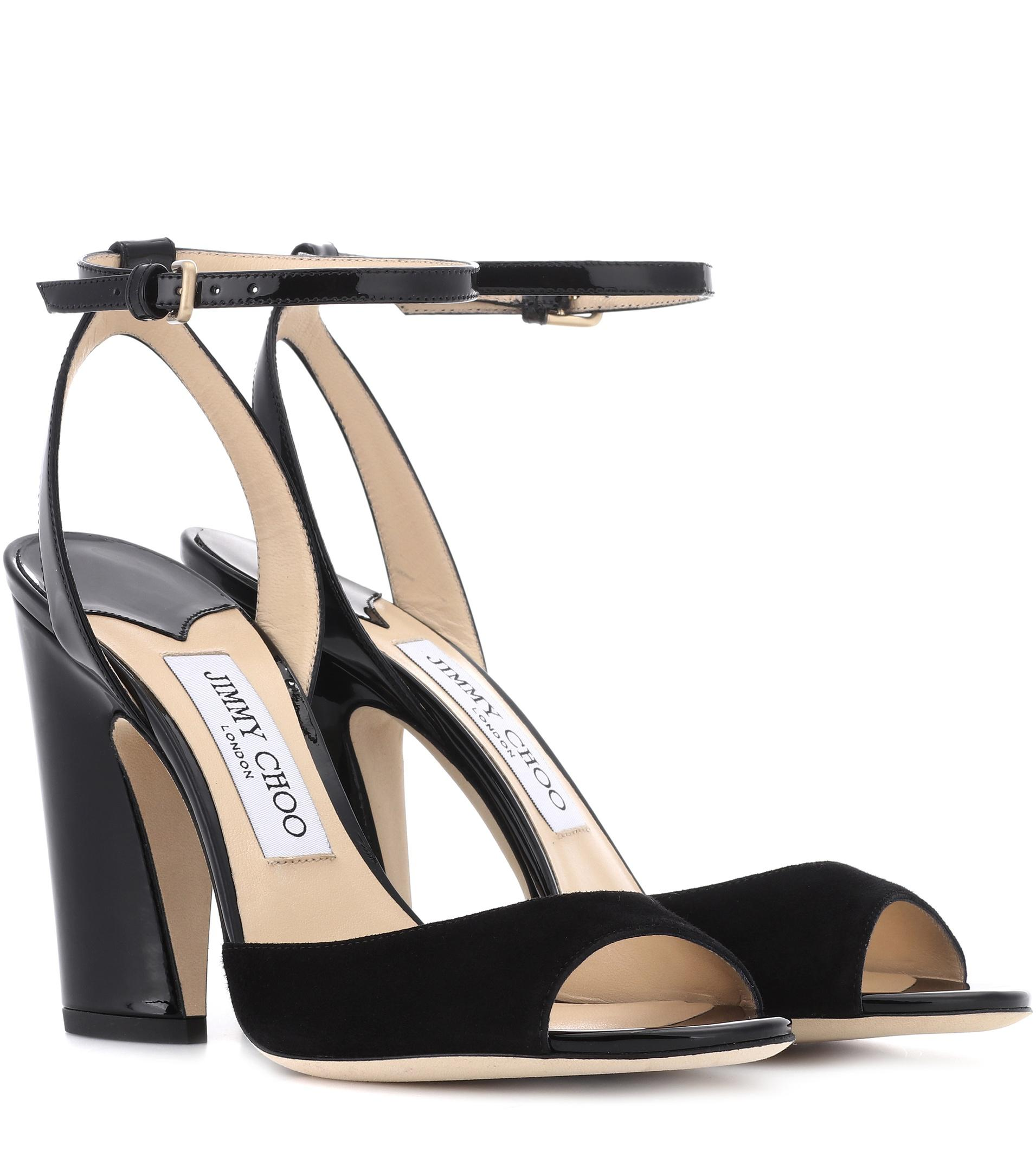 a77f042910a5 Jimmy Choo - Black Miranda 100 Suede Sandals - Lyst. View fullscreen