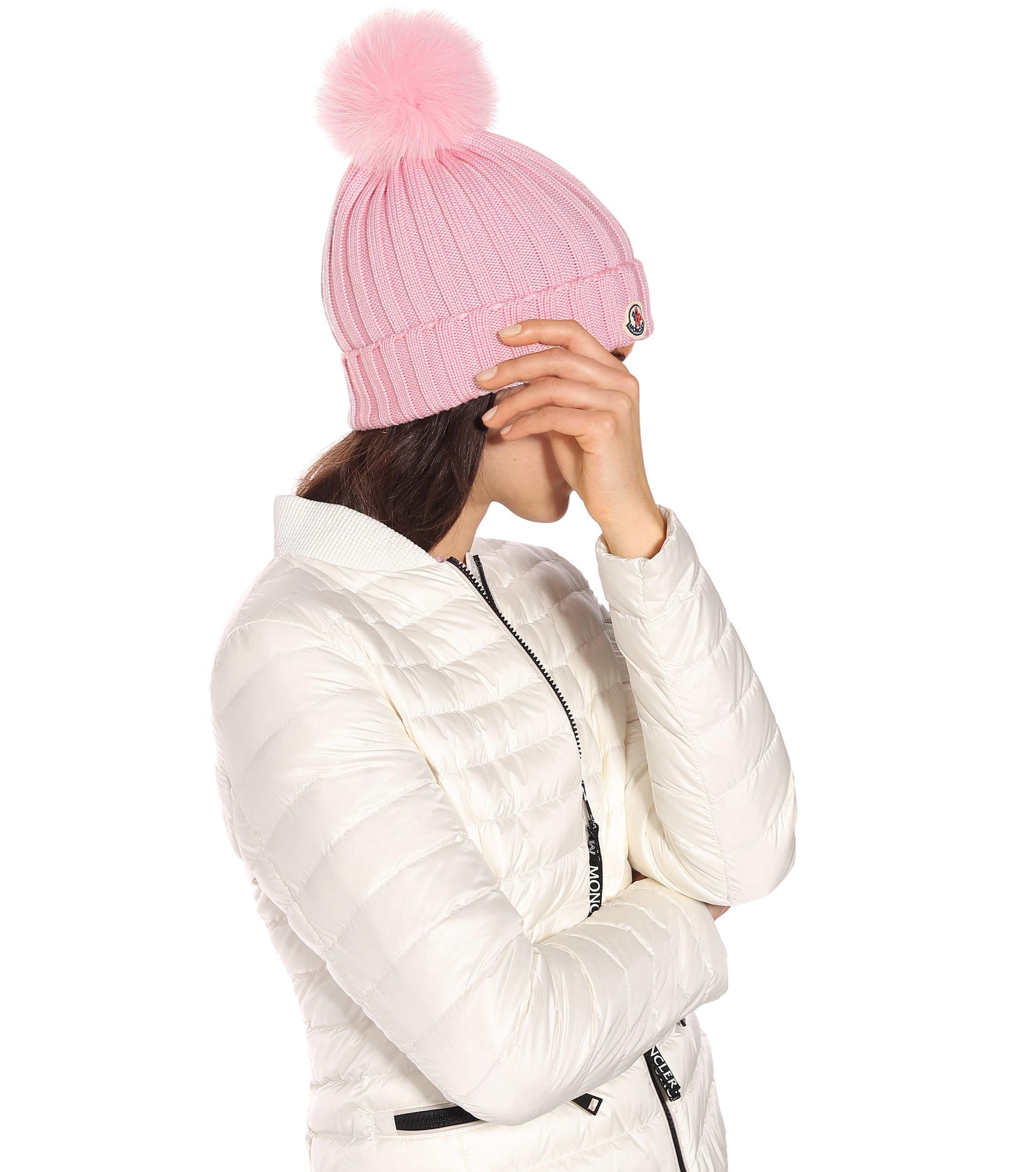 Moncler - Pink Fur-trimmed Beanie - Lyst. View fullscreen d5287bfc646c