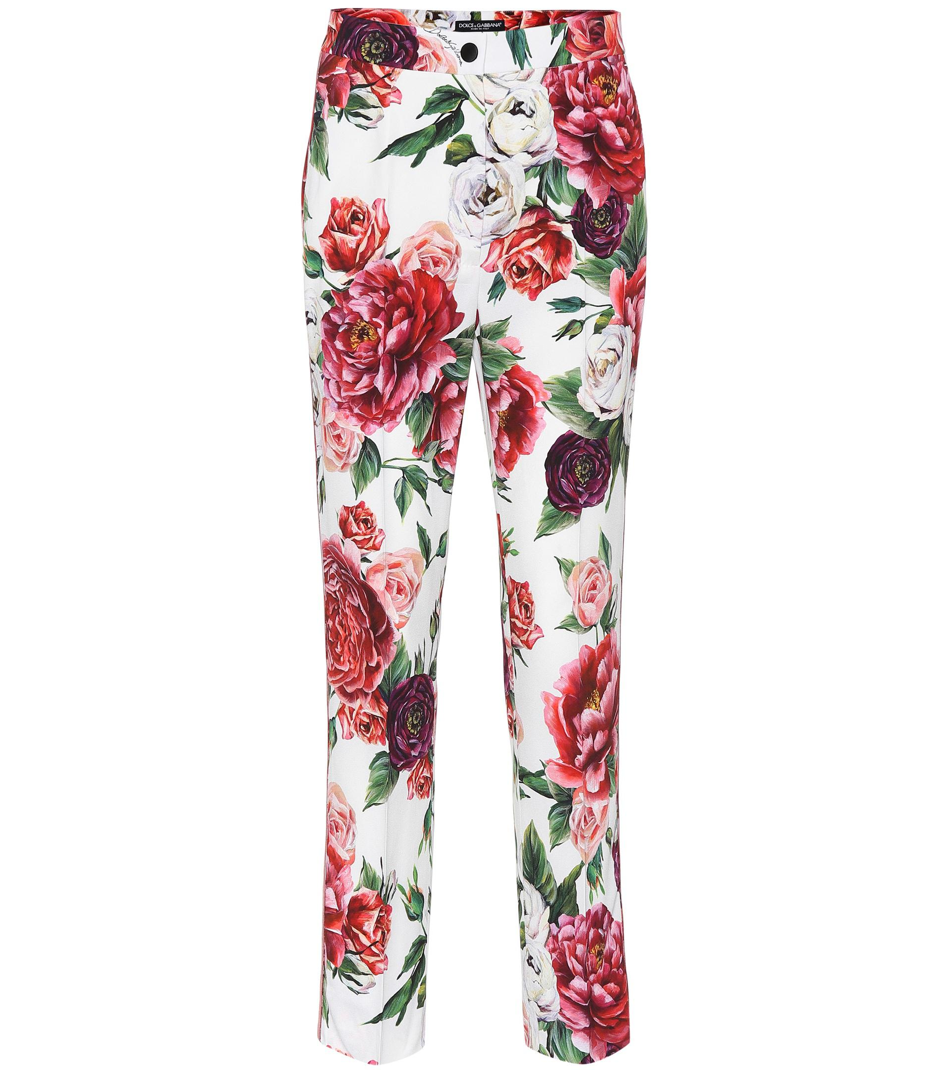 d3d1ca16e8 Dolce   Gabbana Floral-printed Silk-blend Pants in Red - Lyst