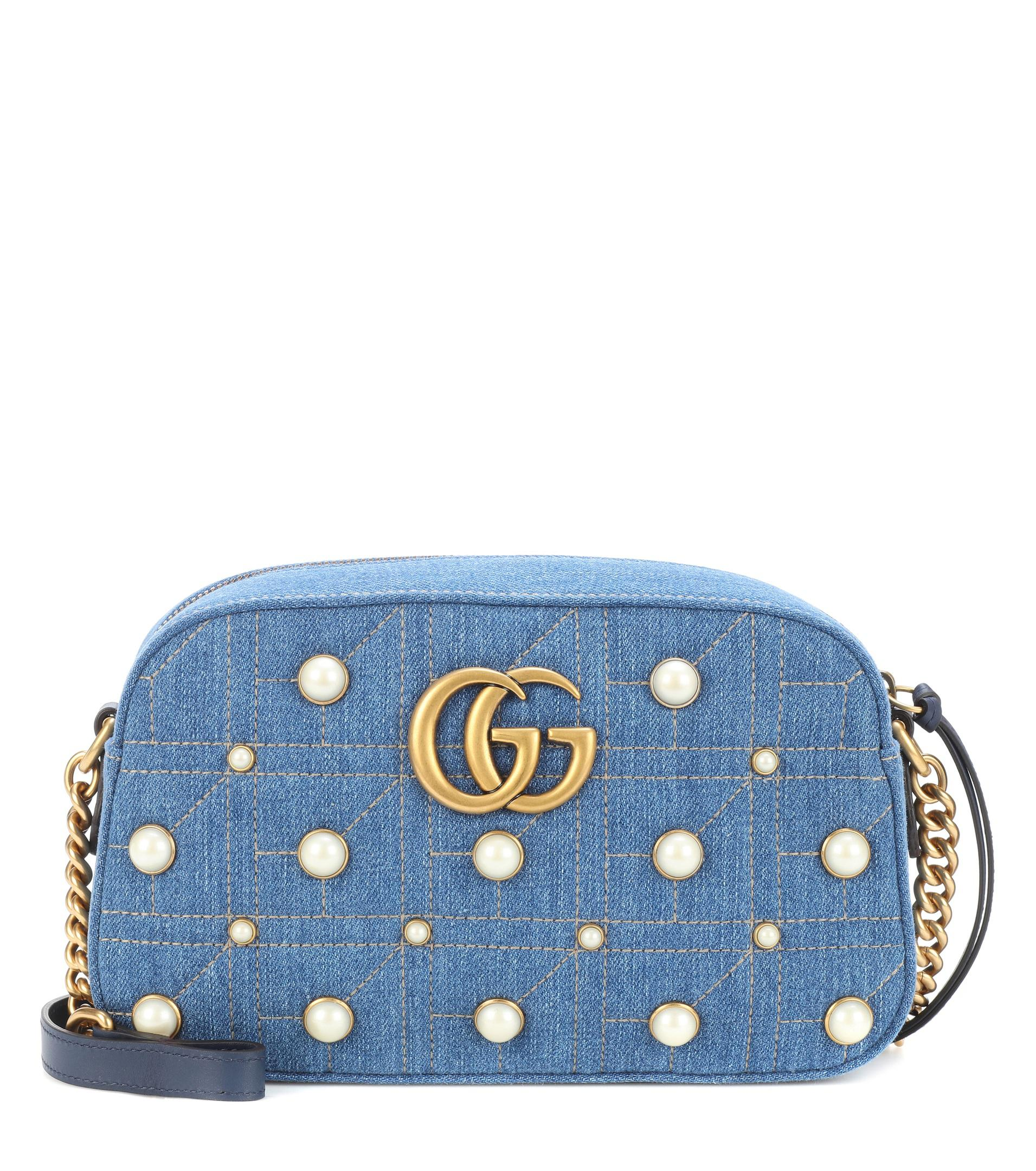 Sac cross-body en denim à ornements GG Marmont rWl5Es