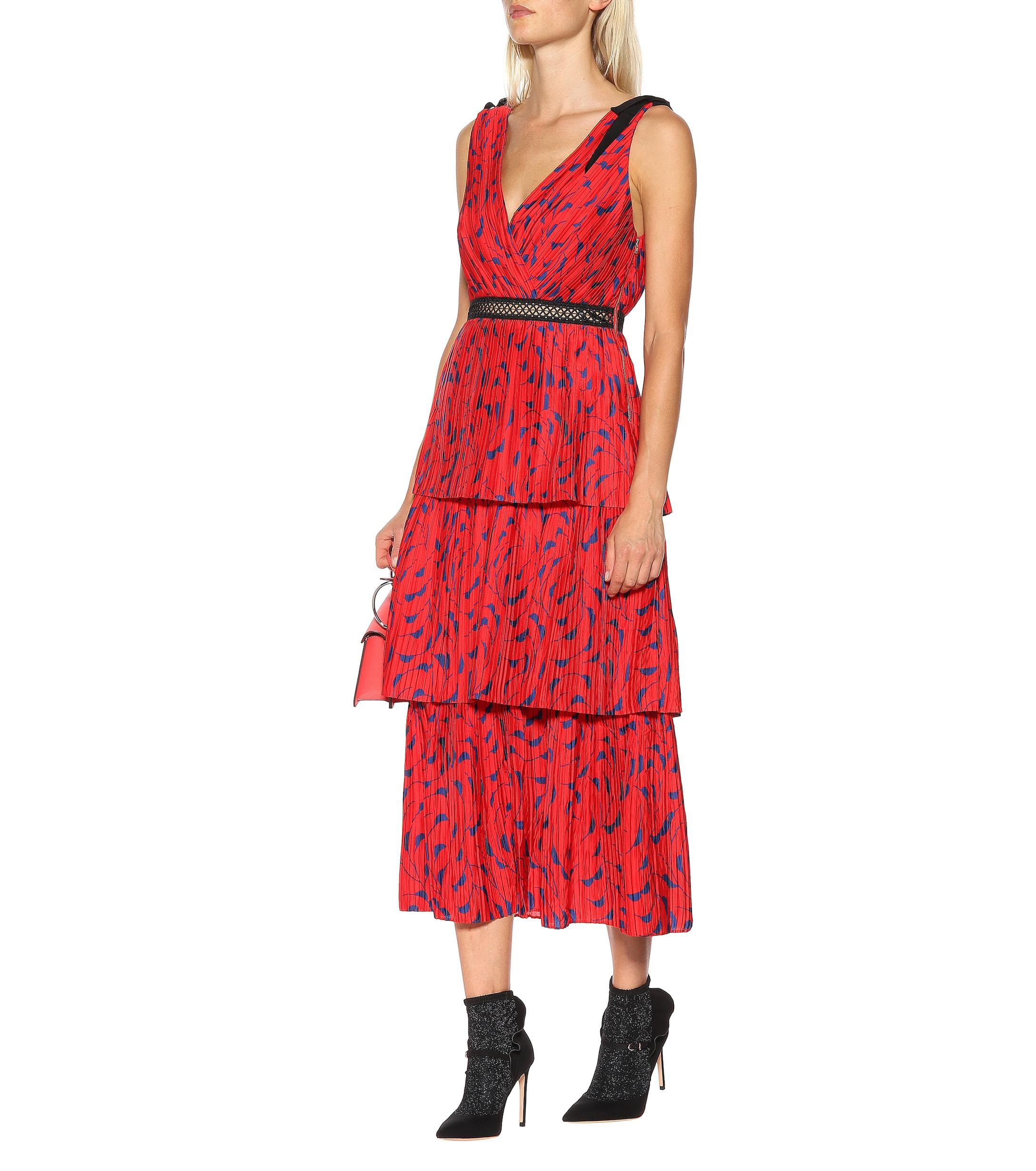 fcbfb2643edf Self-Portrait - Red Printed Satin Midi Dress - Lyst. View fullscreen