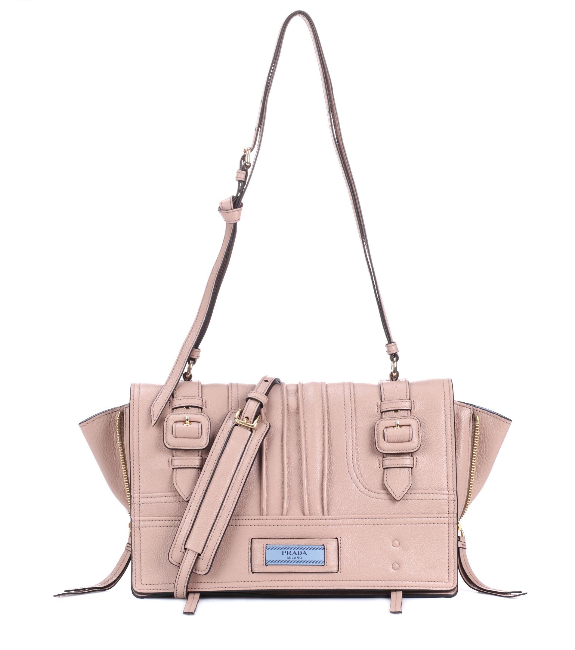 a210e8c55082 Prada Etiquette Leather Shoulder Bag in Pink - Lyst