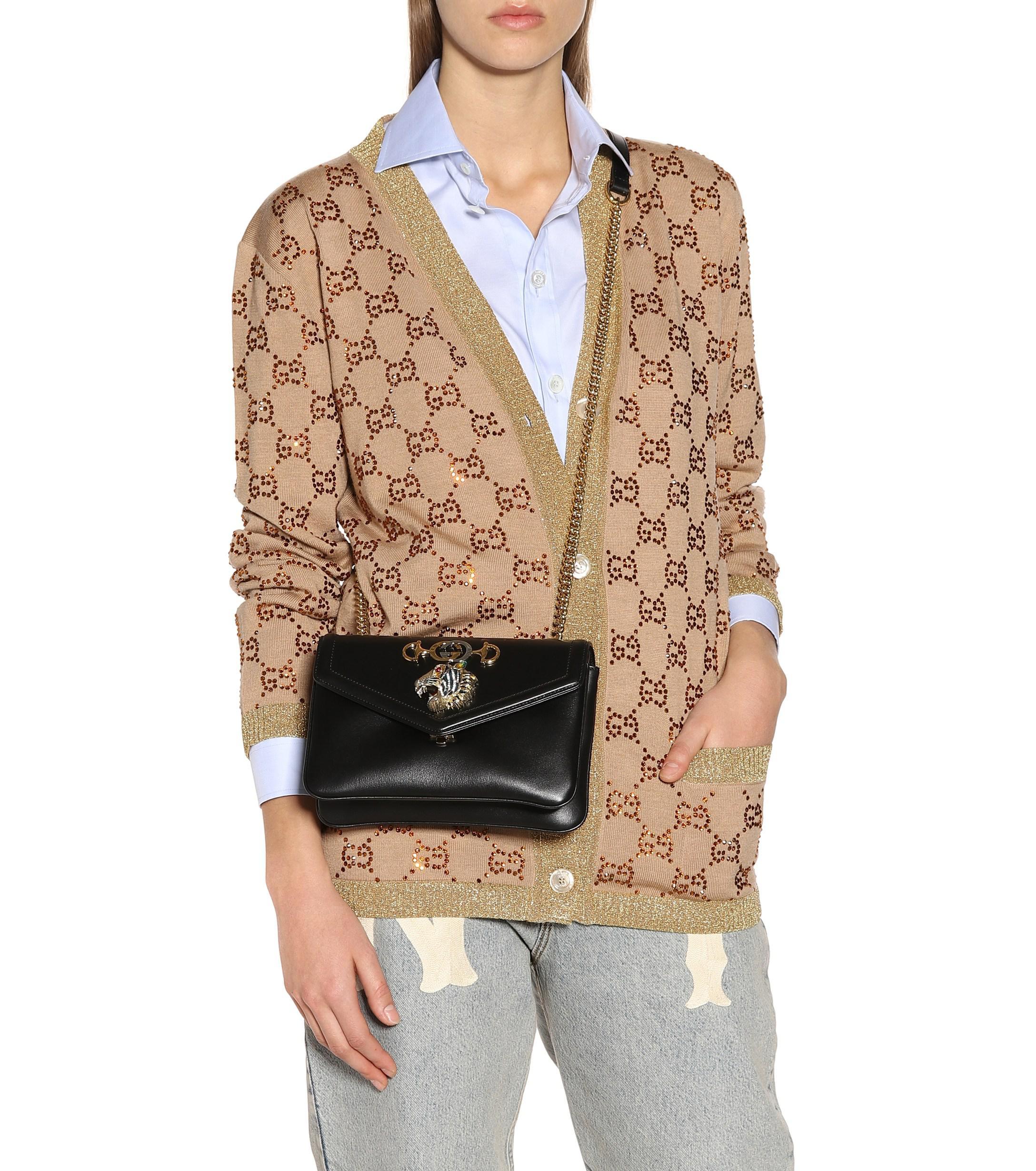 8ffe9975b87c05 Gucci Rajah Small Leather Shoulder Bag in Black - Lyst