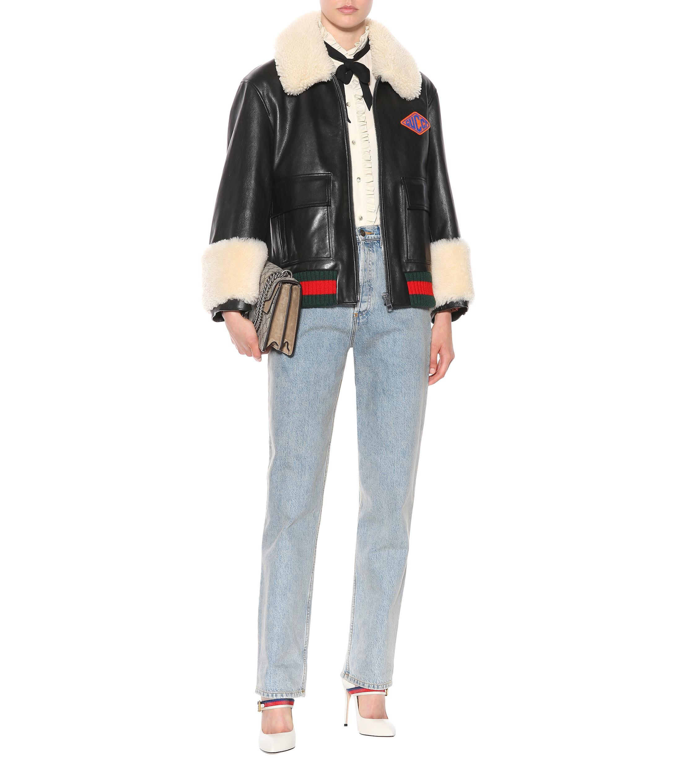 Lyst - Veste en cuir et shearling Gucci en coloris Noir bd4b53ee91e