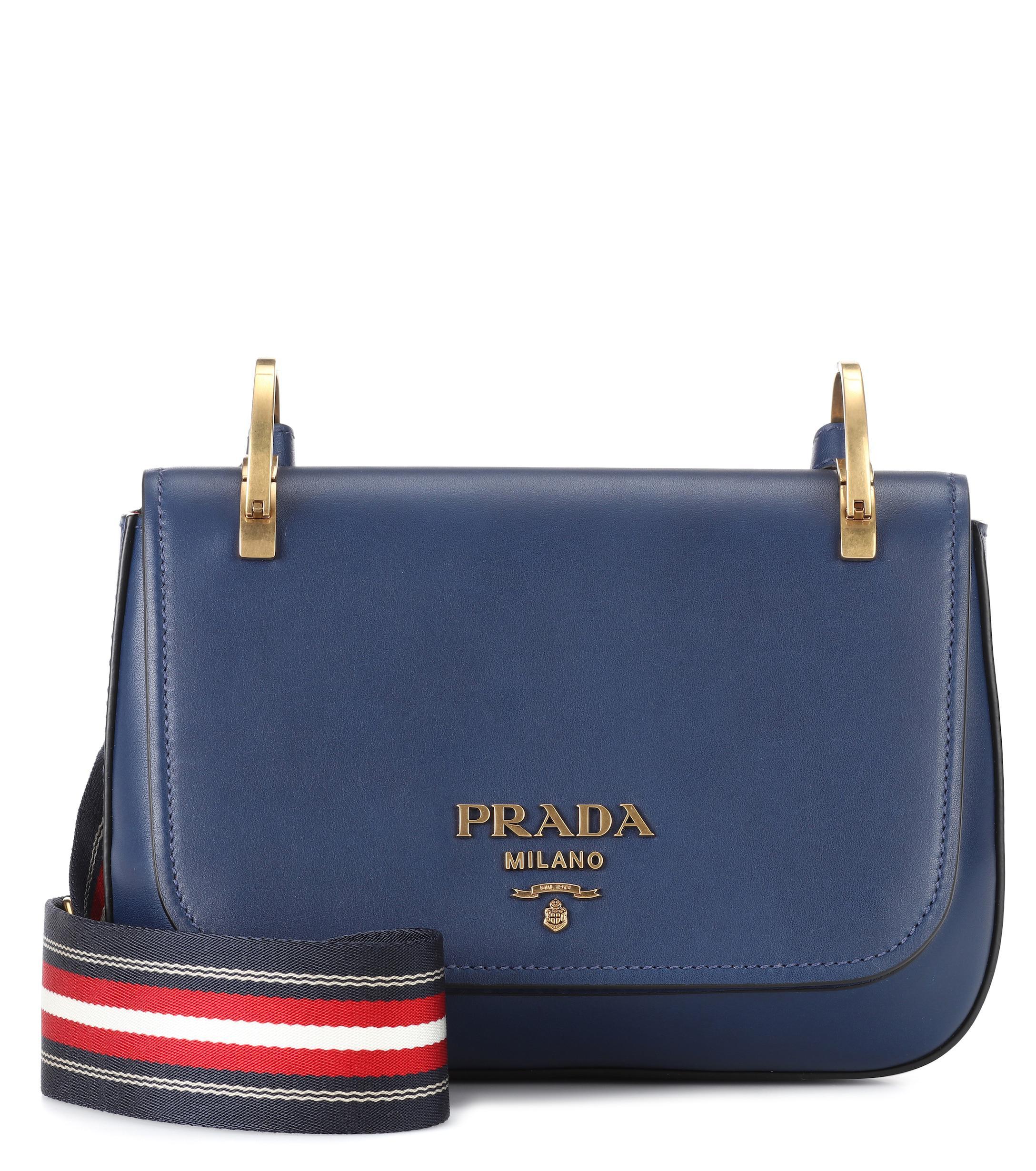 ef85ea0d90a7 Prada - Blue Pionnière Leather Shoulder Bag - Lyst. View fullscreen