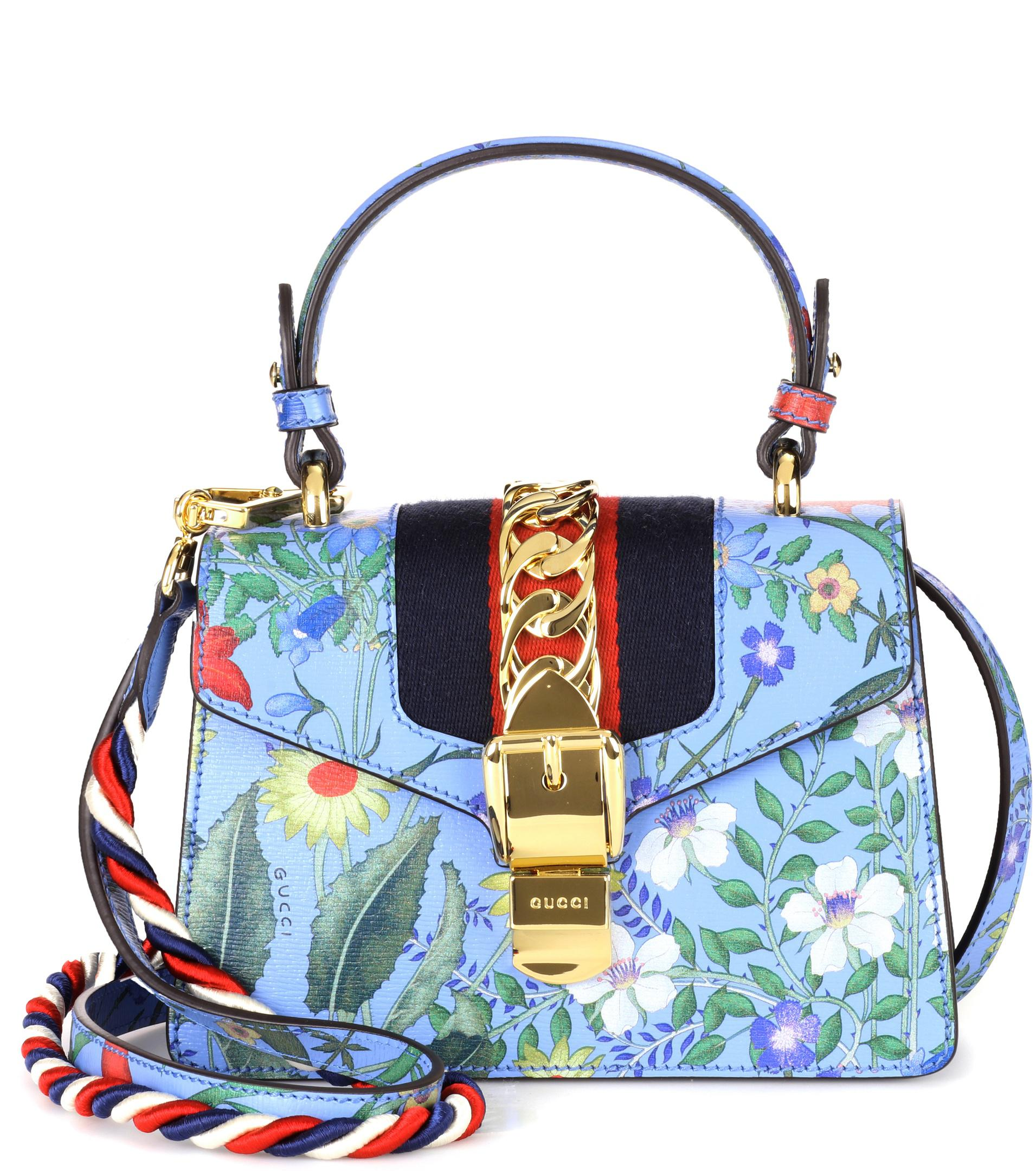12f7f645b99 Lyst - Gucci Sylvie New Flora Leather Mini Bag in Blue