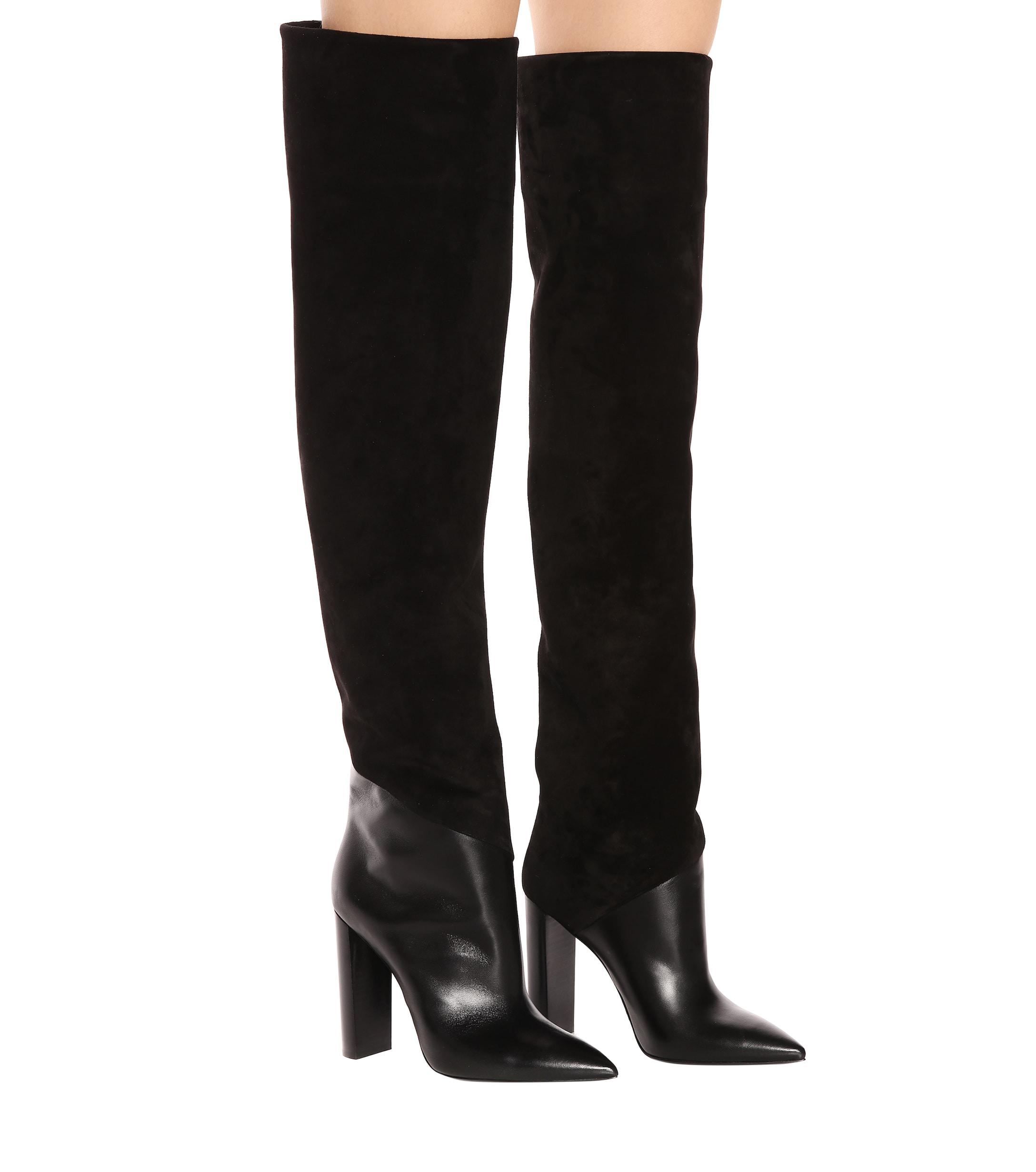 fde502c56e6 Saint Laurent - Black Tanger 105 Leather And Suede Over-the-knee Boots -.  View fullscreen