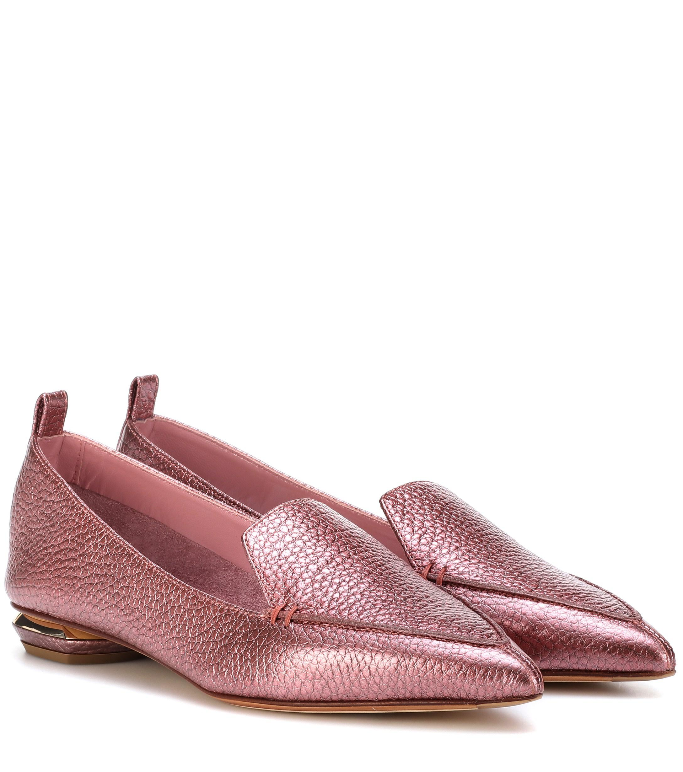 722199f3b71 Nicholas Kirkwood Beya Metallic Leather Loafers in Pink - Lyst