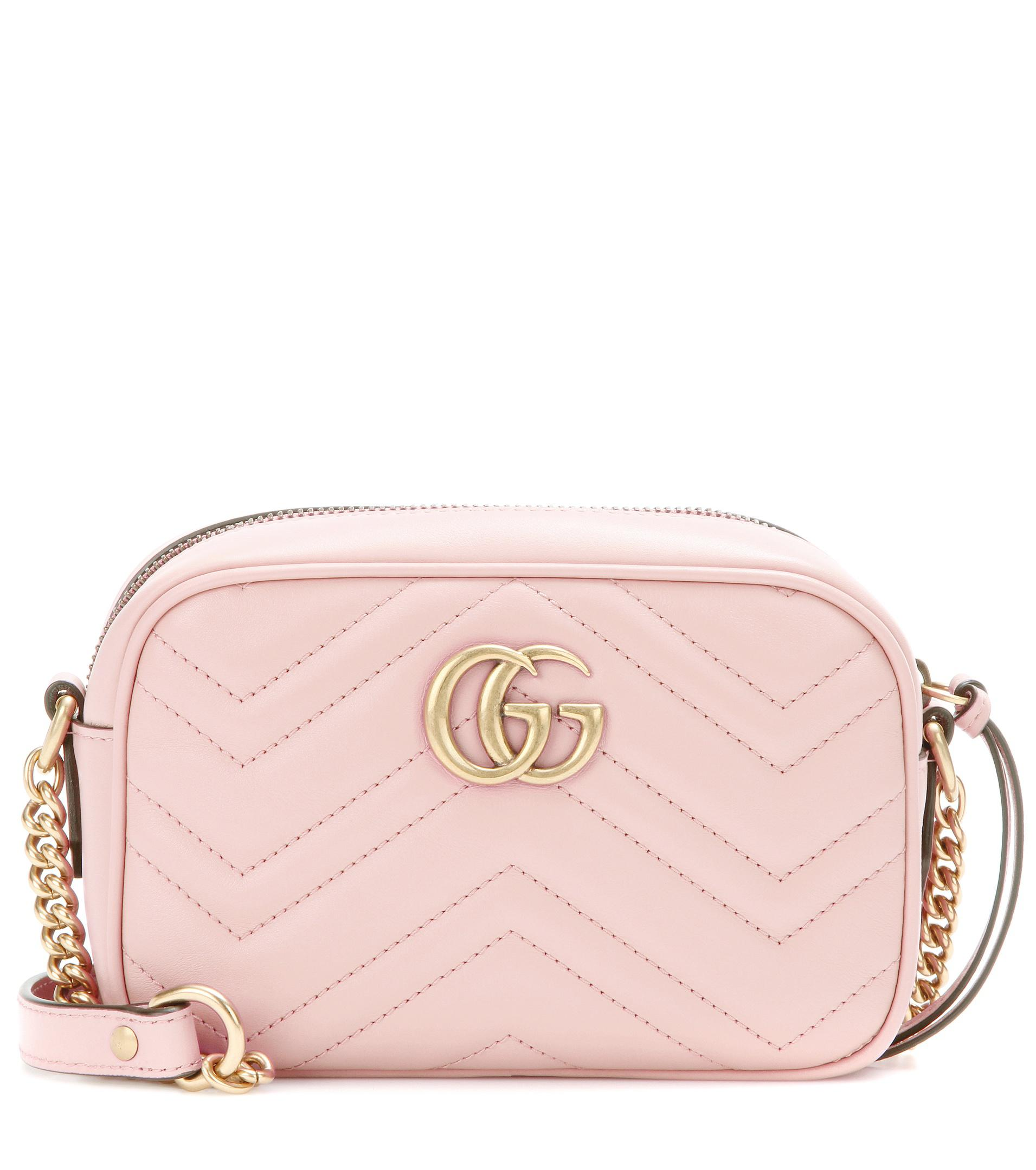 e87651525673 Gucci Gg Marmont Mini Matelassé Leather Crossbody Bag in Pink - Lyst
