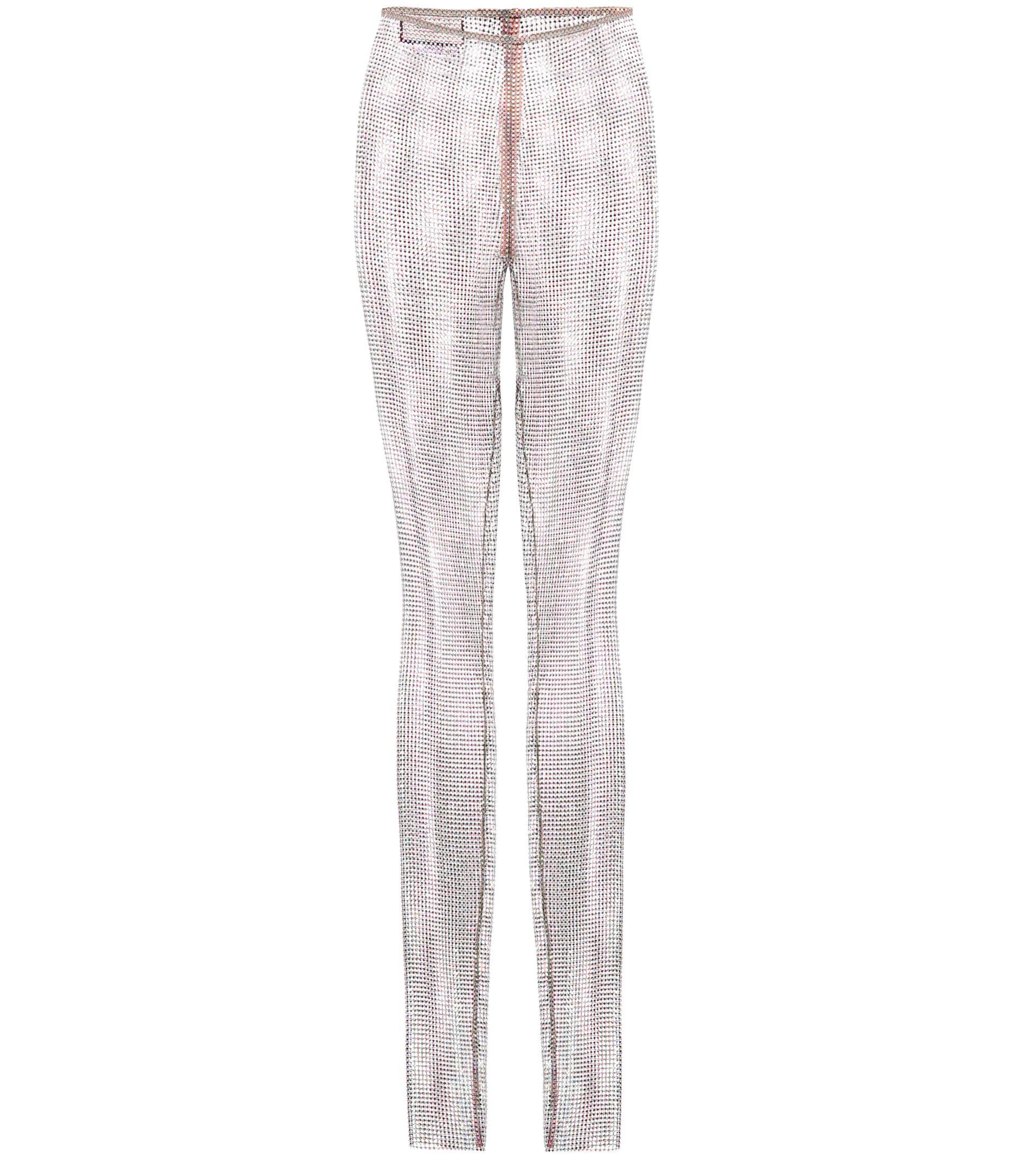 4572b4c4482 Lyst - Gucci Crystal-embellished Mesh Leggings in Metallic
