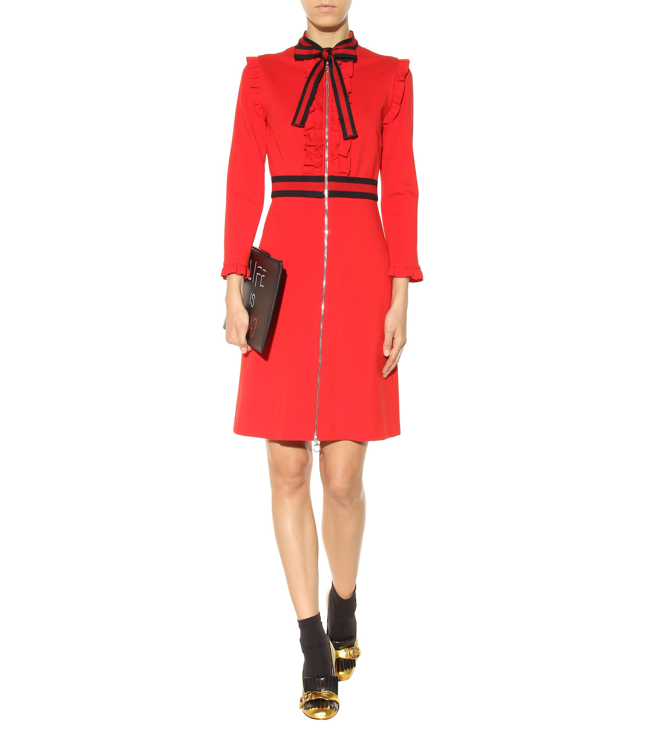 0d871577285 Gucci - Red Crêpe-jersey Dress - Lyst. View fullscreen