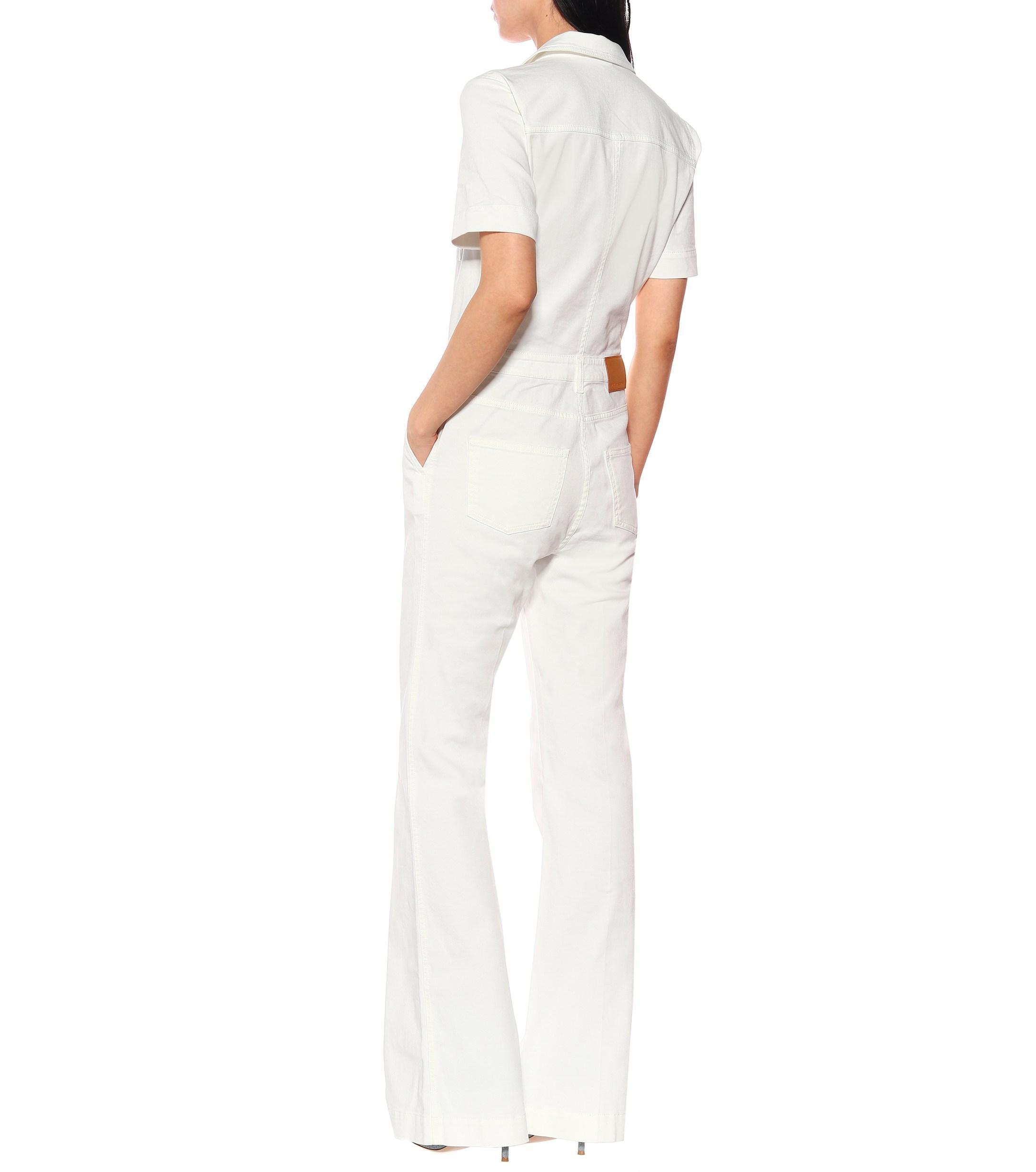 fad0f2bfd8f7 Stella McCartney Stretch Denim Jumpsuit in White - Lyst