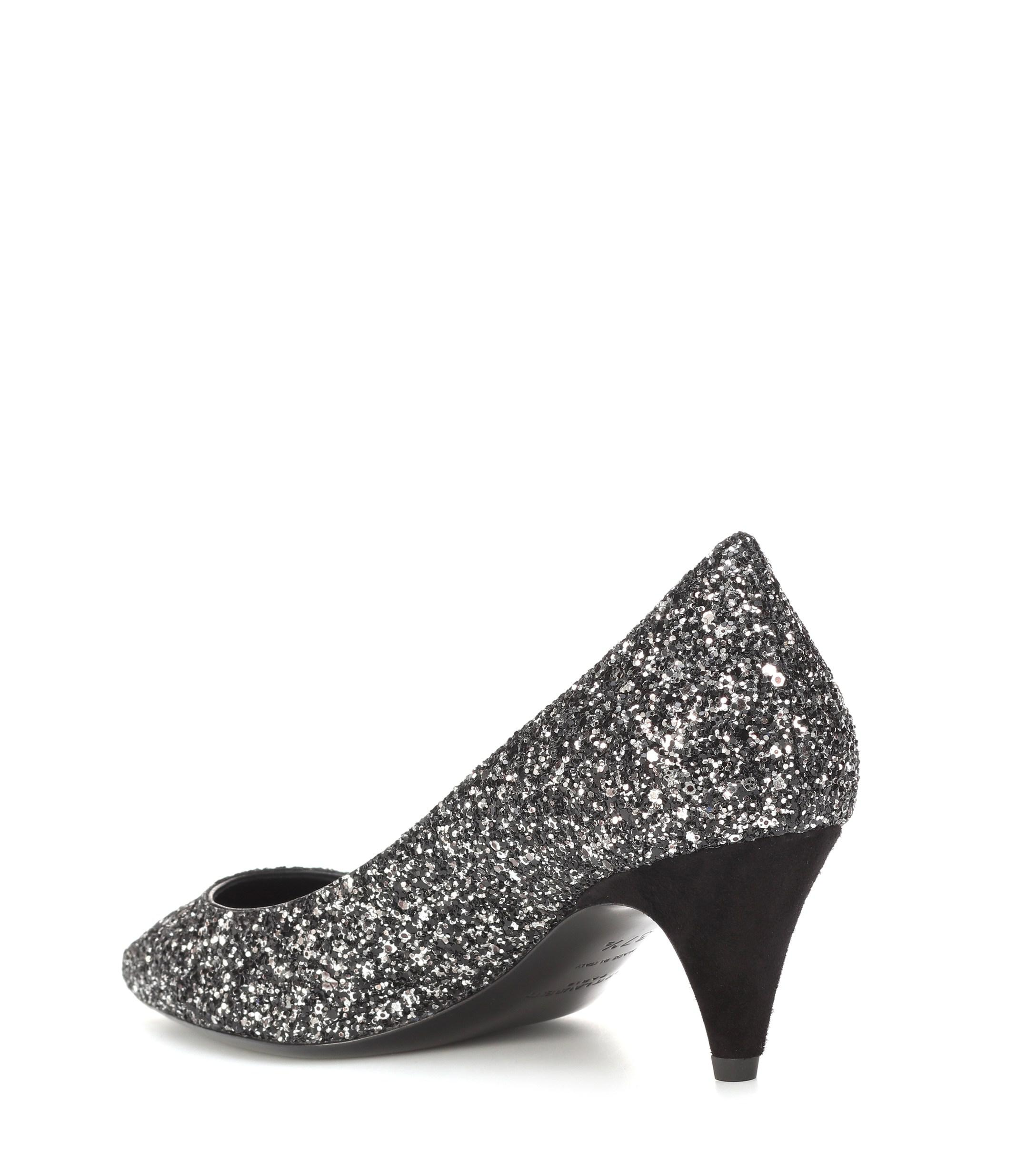 06320cf57b6d Lyst - Saint Laurent Charlotte 55 Glitter Pumps in Black