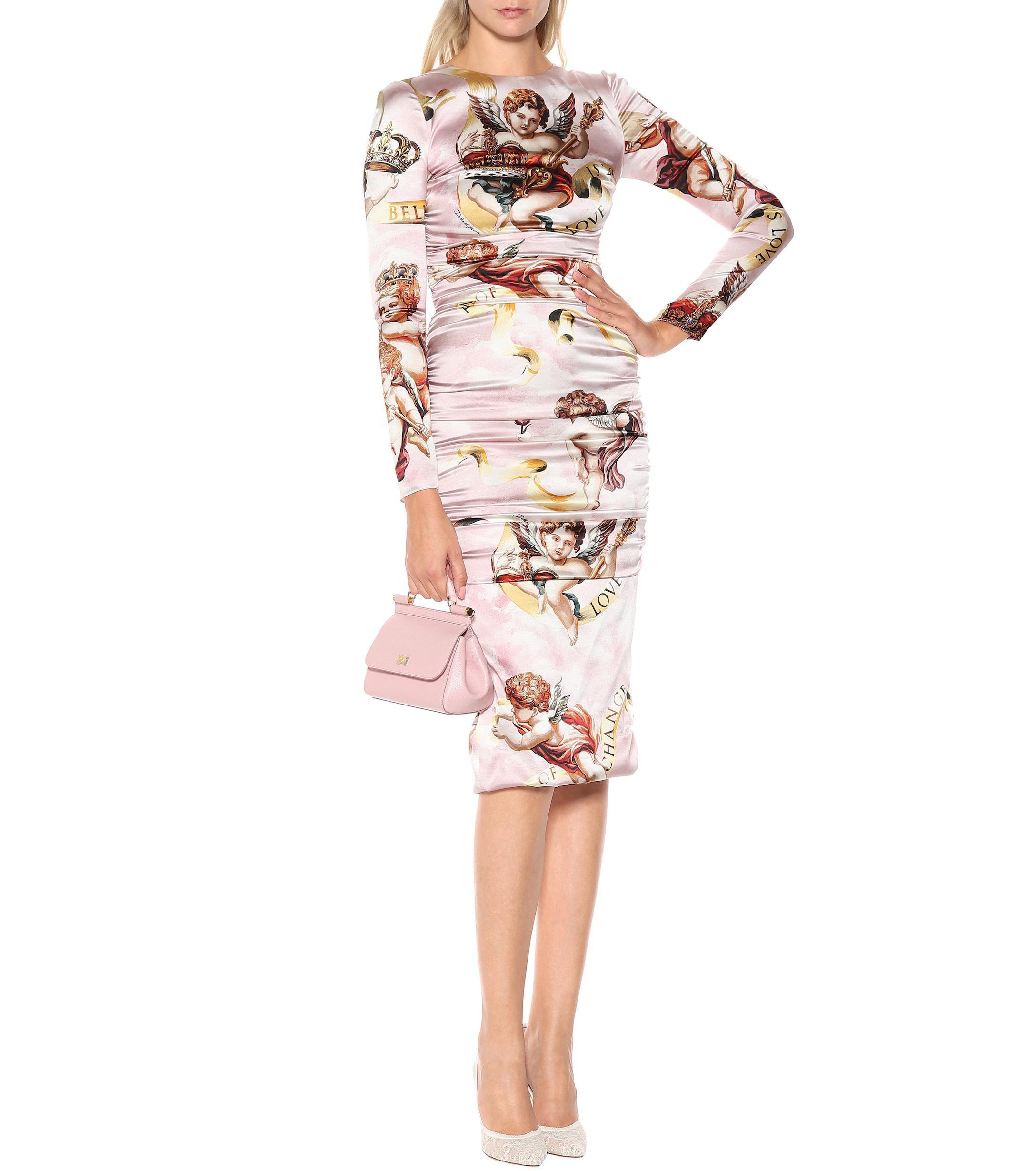90484cc15216 Dolce & Gabbana Cherub Silk-satin Dress - Lyst