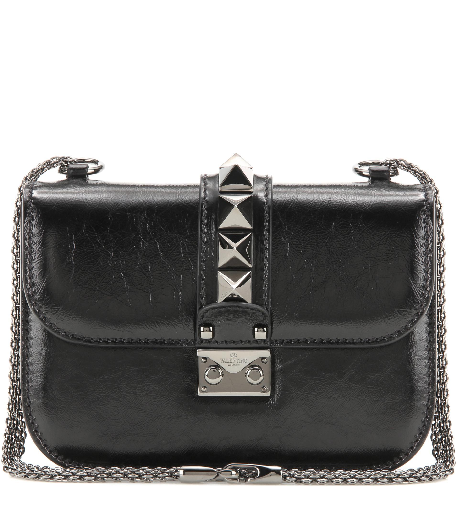 4ea0133fe0964 Lyst - Valentino Lock Noir Small Leather Shoulder Bag in Black