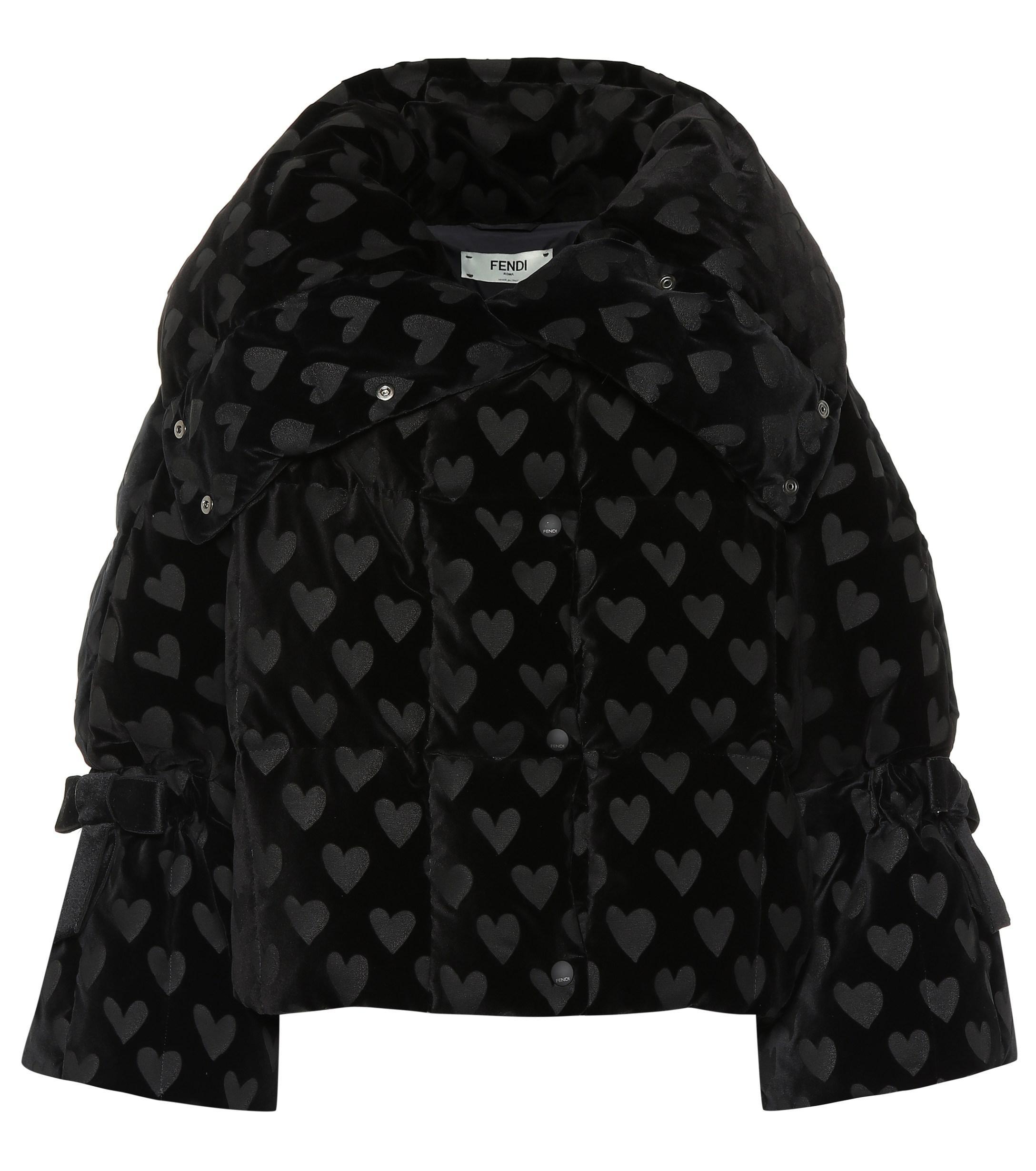054fc02895 Fendi - Black Velvet-jacquard Quilted Down Jacket - Lyst. View fullscreen