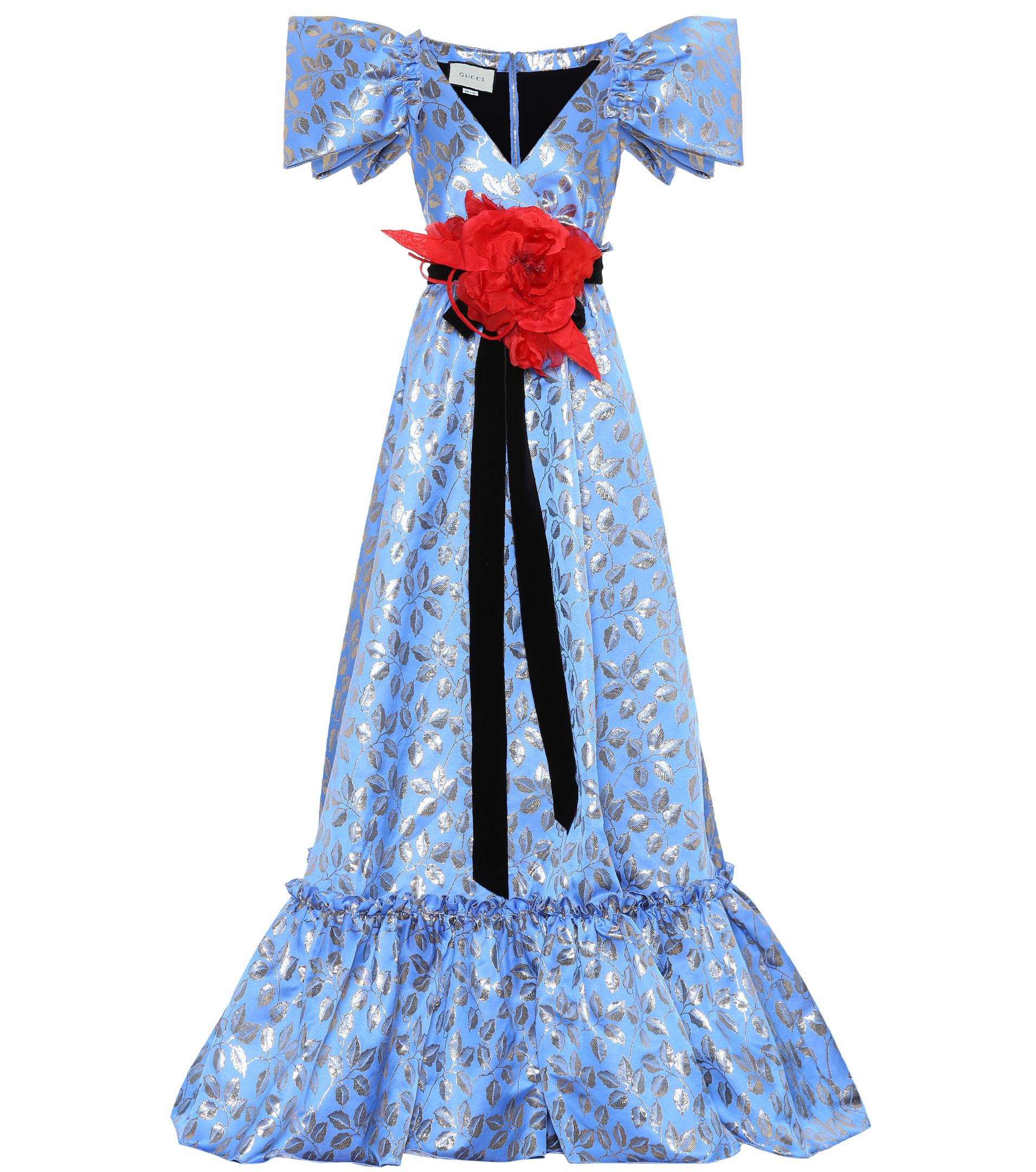 Lyst Gucci Floral Jacquard Gown in Blue