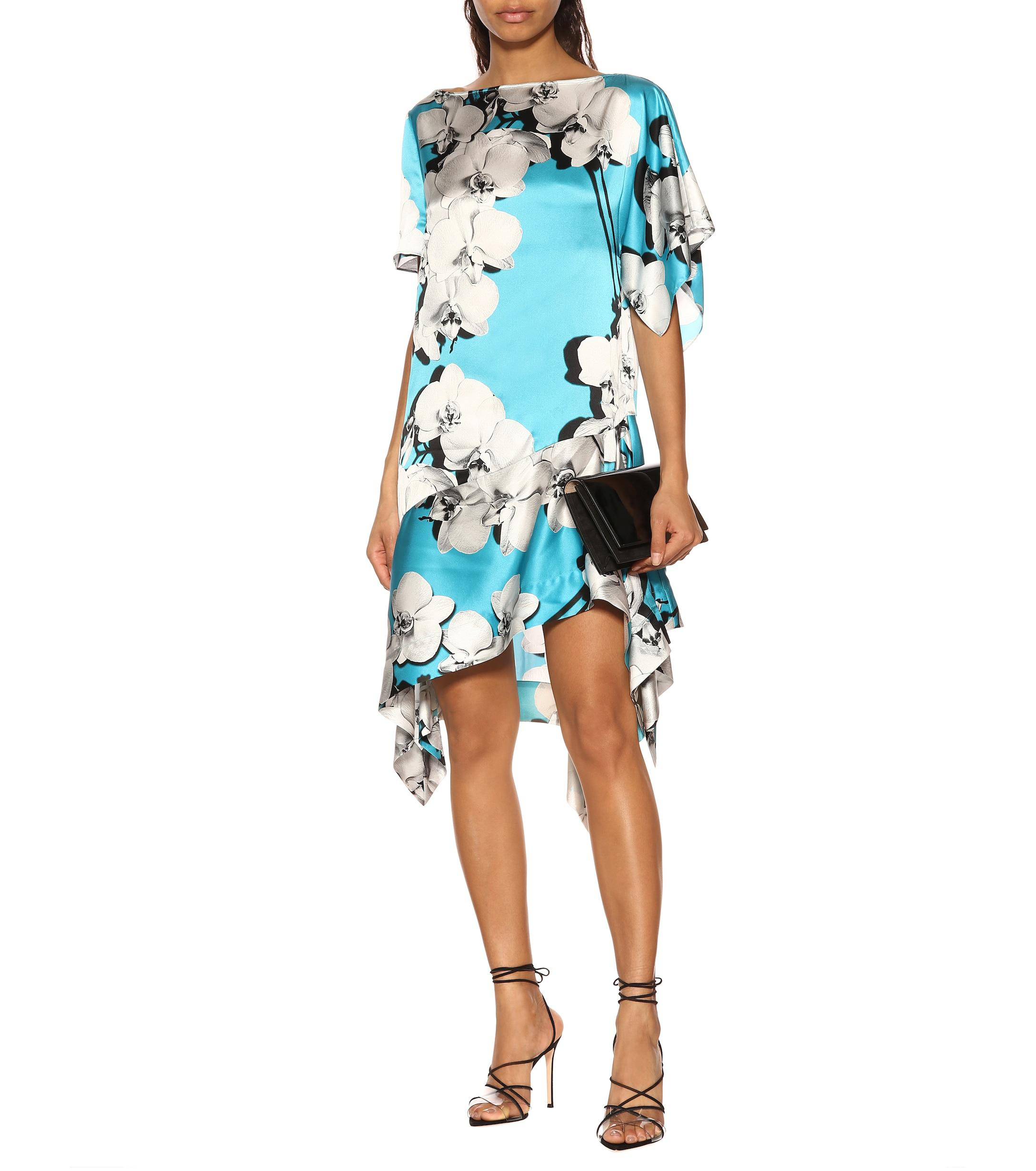 754b0cb990 Roberto Cavalli - Blue Printed Asymmetric Silk Dress - Lyst. View fullscreen