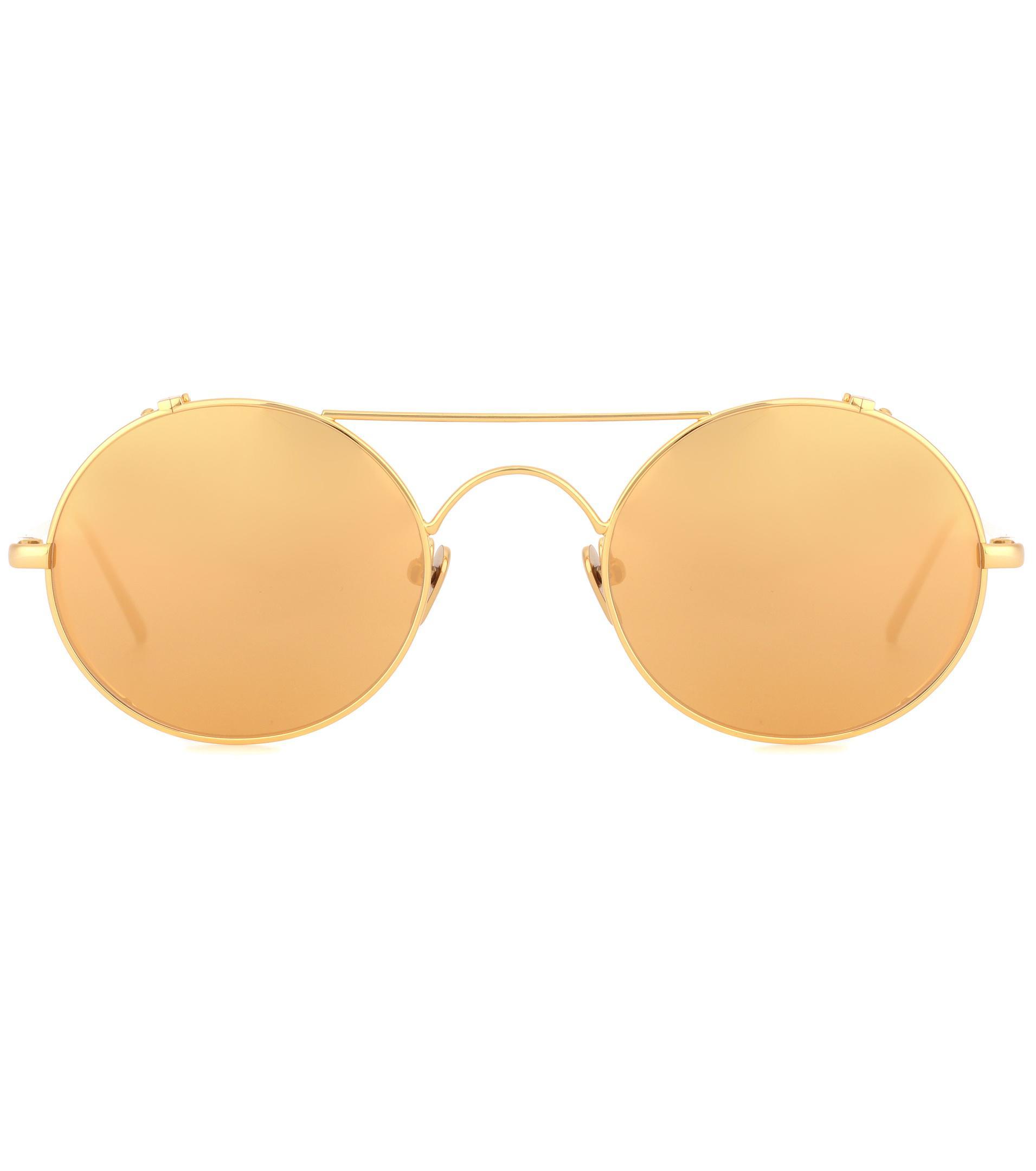 d4536ce9f7c5 Lyst - Linda Farrow 427 C1 Oval Sunglasses In Yellow Gold in Metallic