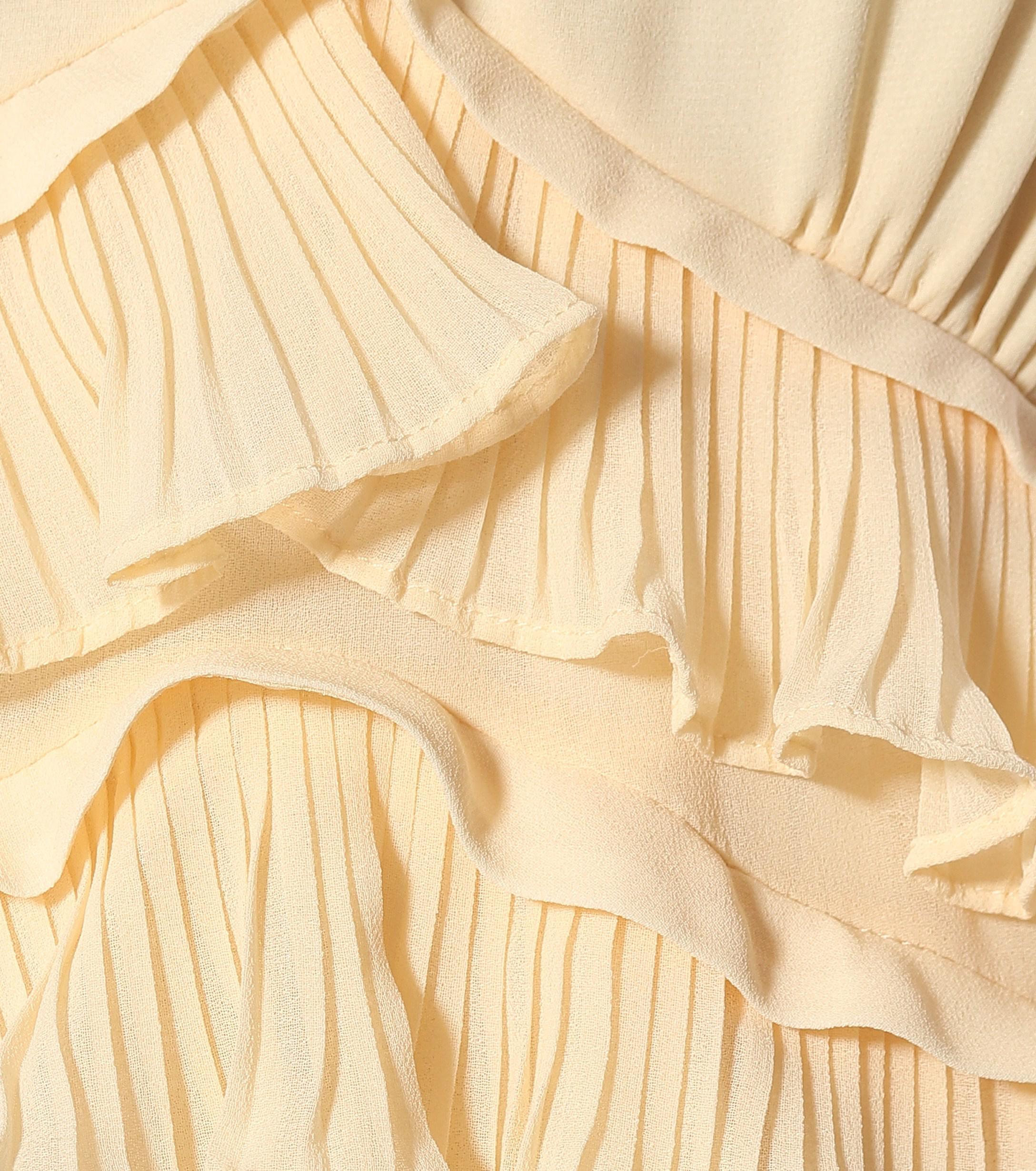 638ca90f6ba4 Self-Portrait - Yellow Chiffon Midi Dress - Lyst. View fullscreen