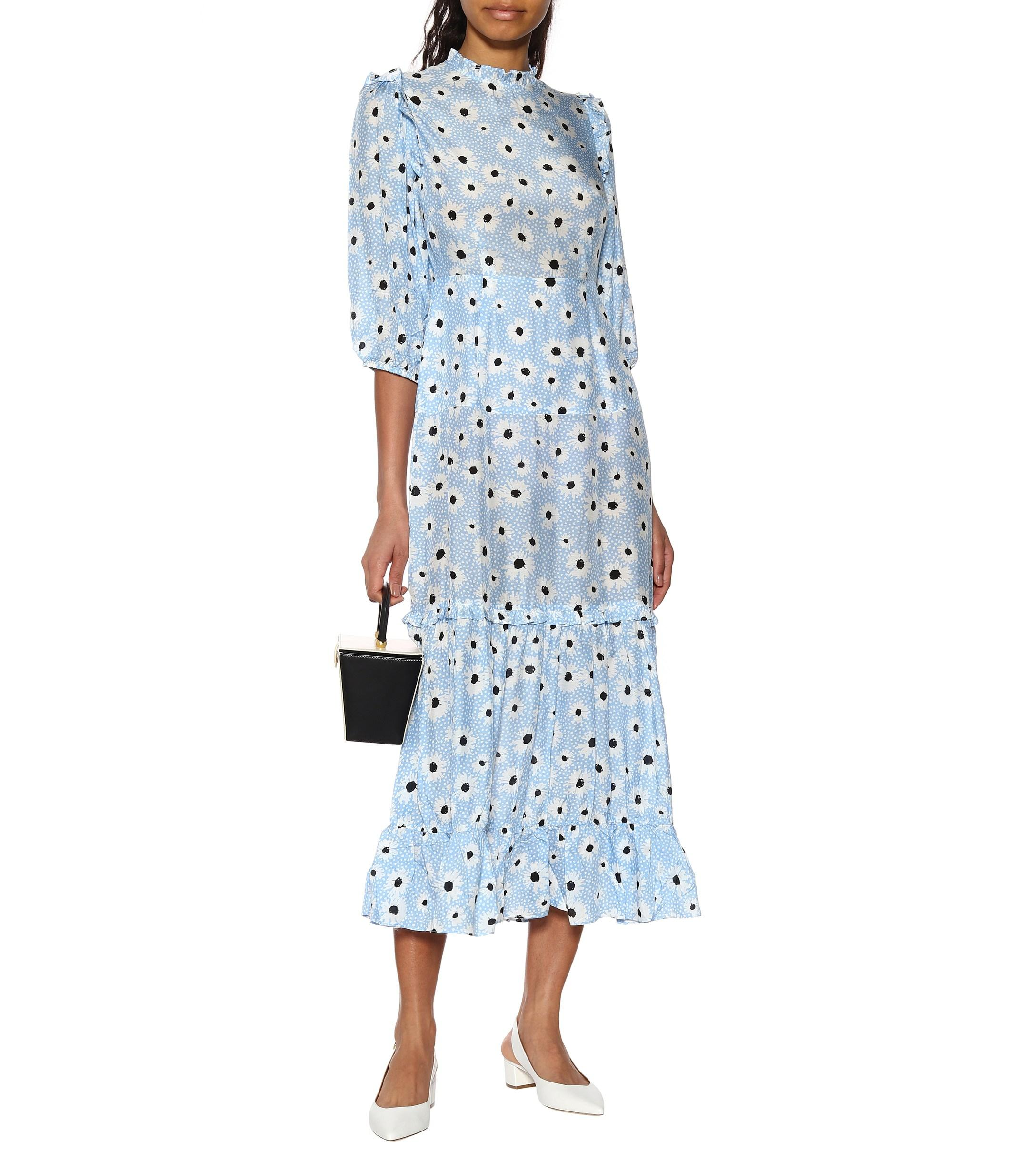 a4182c35589 Lyst - RIXO London Monet Floral Cotton And Silk Dress in Blue