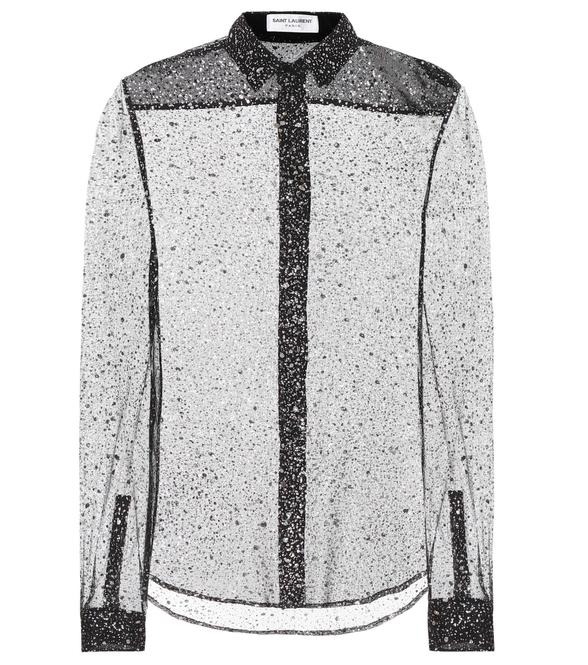 Outlet Official Purchase Sale Online Glitter silk-blend shirt Saint Laurent Buy Cheap Exclusive Cheap Deals 4dRUxJsY