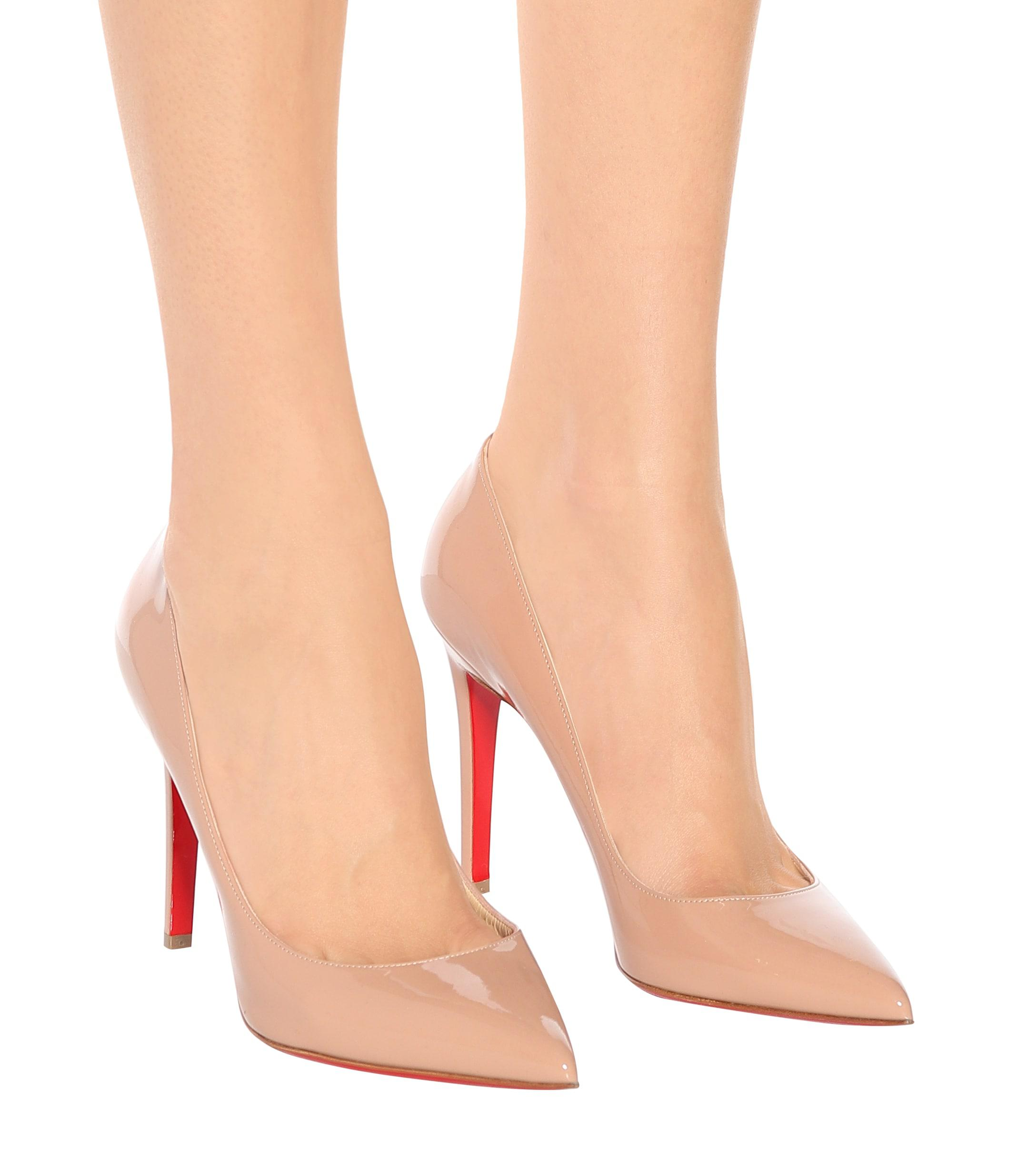 f0cee1cf3b99 Christian Louboutin Pigalle 100 Patent Leather Pumps in Natural - Lyst