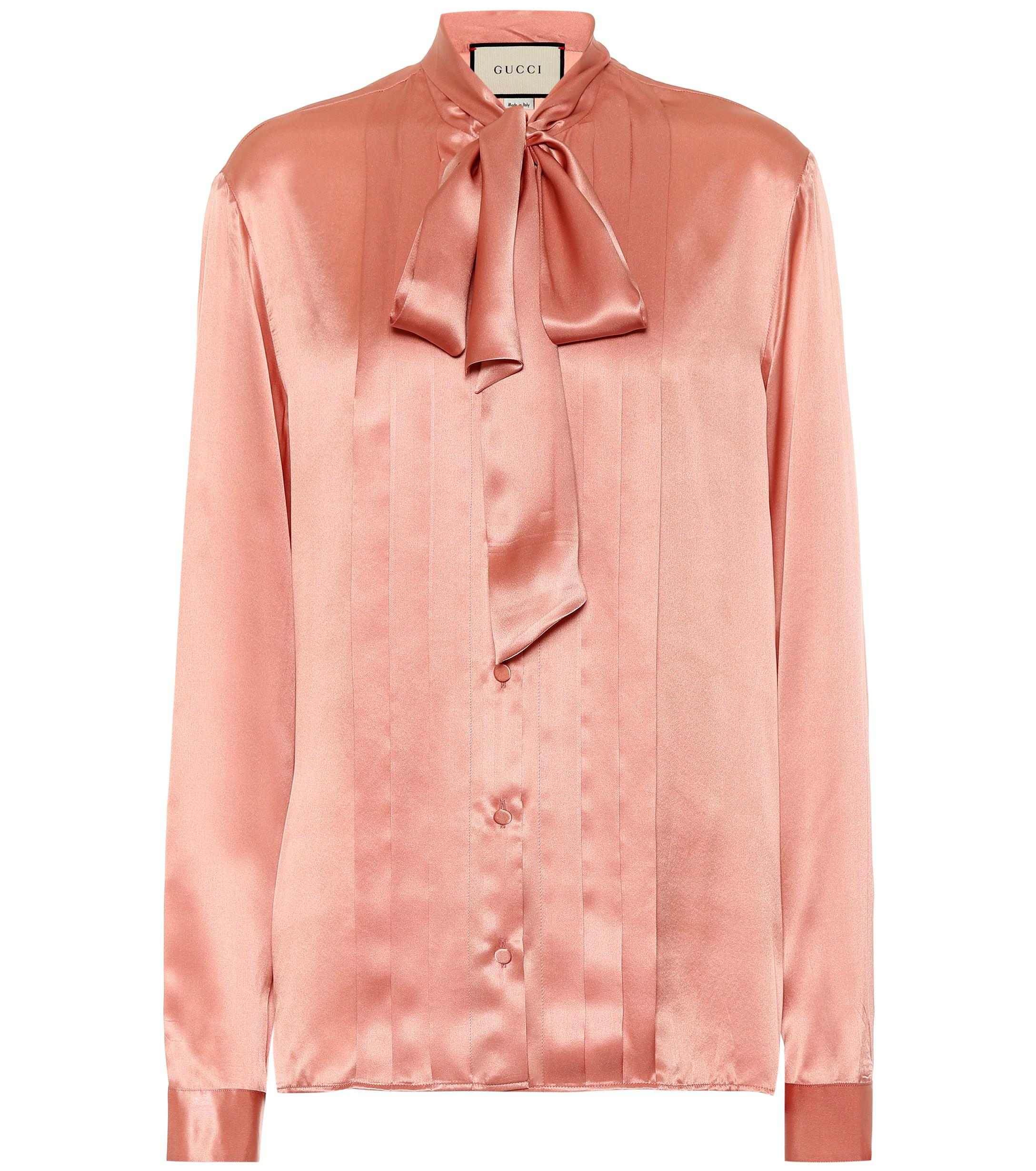7401017684f86c Lyst - Gucci Silk-satin Blouse in Pink