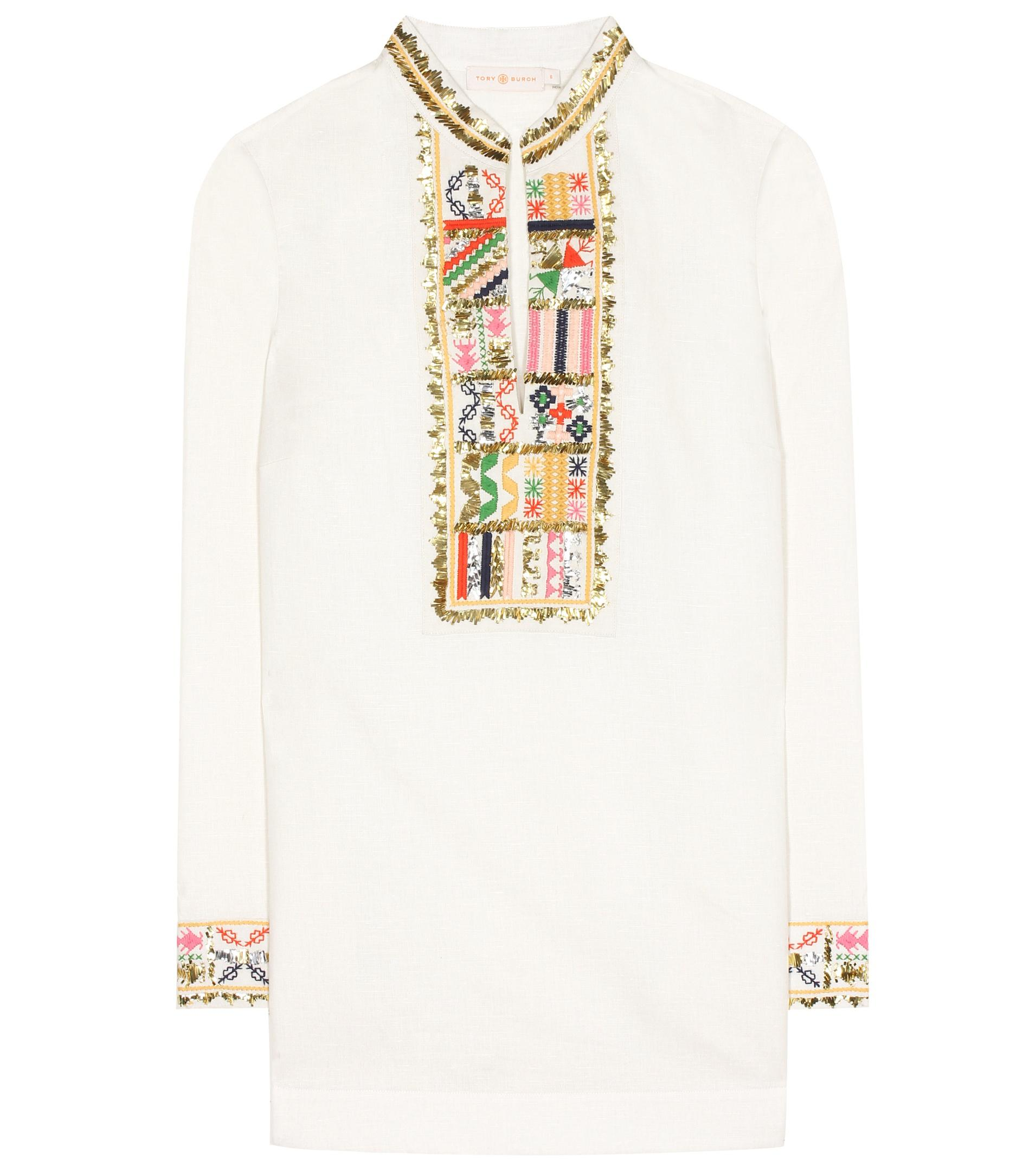 4f19ab2444b5d0 Tory Burch Tory Embroidered Linen And Cotton Tunic in White - Lyst