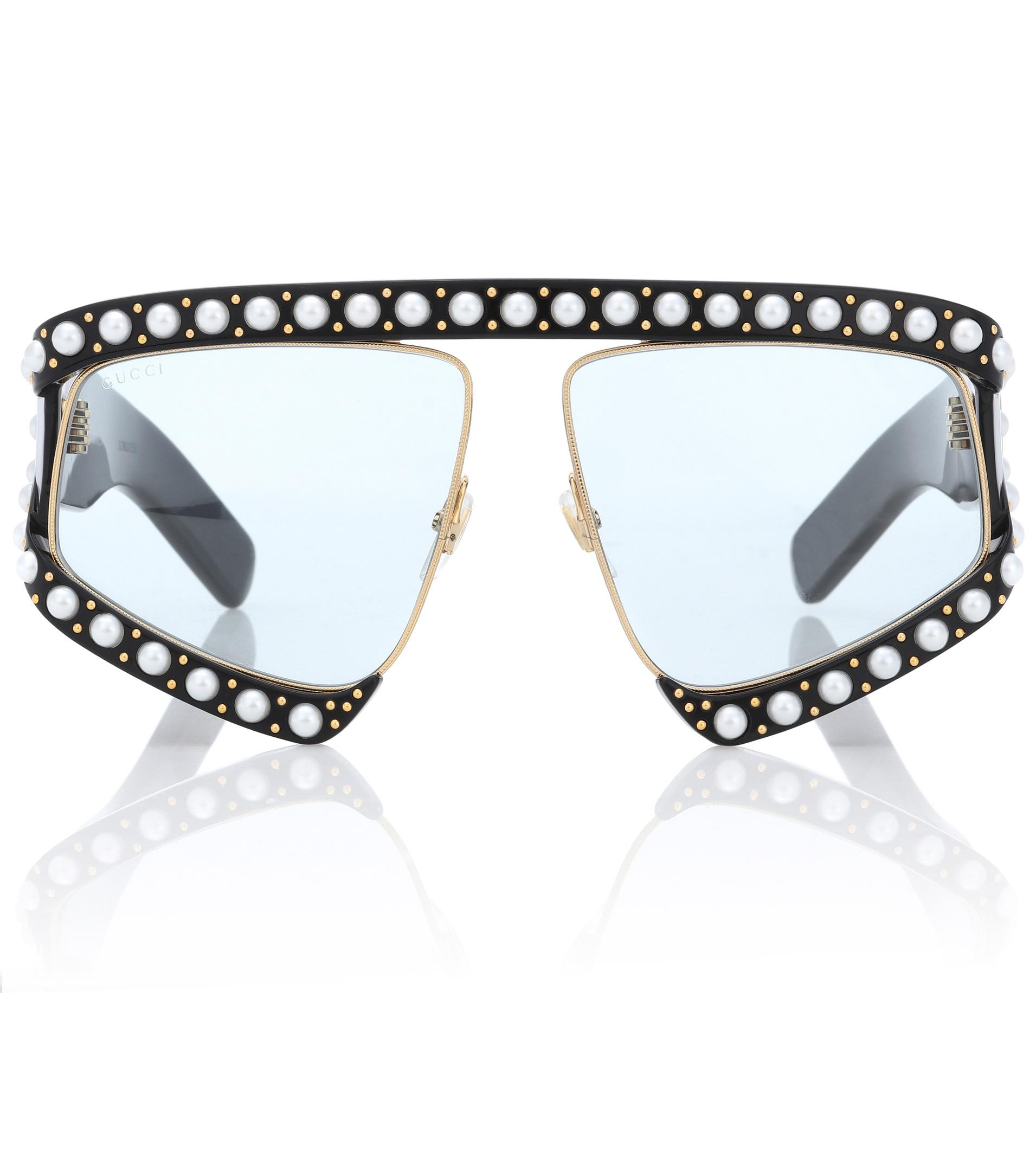 5e7ad39fe3 Lyst - Gucci Faux Pearl-embellished Sunglasses in Black - Save 26%