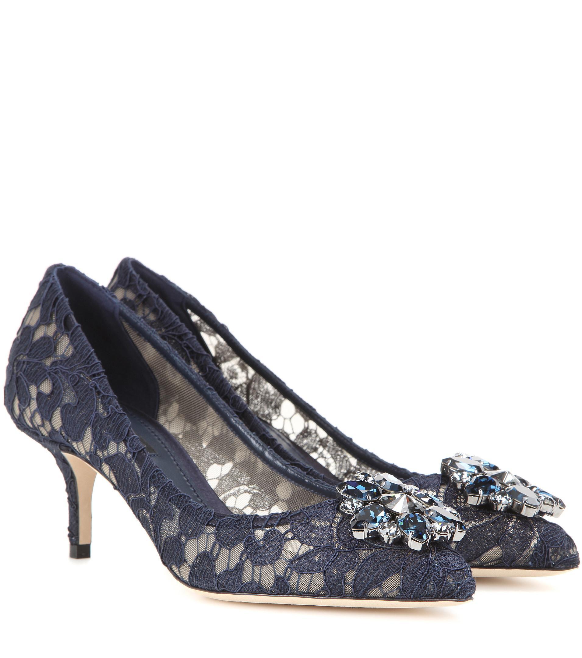 Pumps Bellucci R60 lace nylon gauze Gem black Dolce & Gabbana VhHpJf
