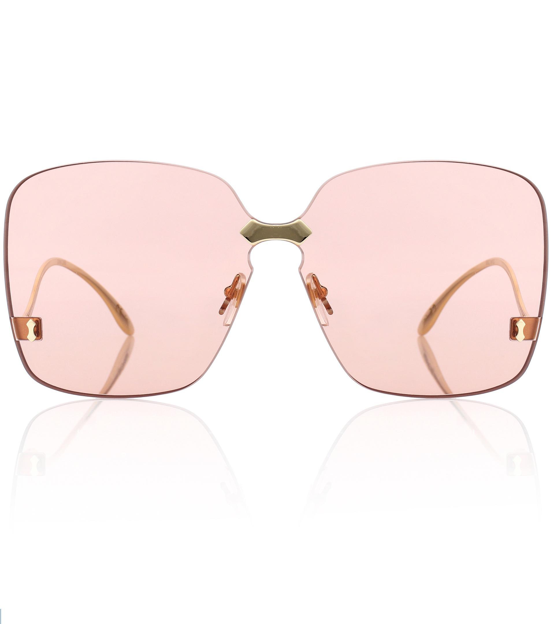 a1cab1f061 Gafas de sol cuadradas sin marco Gucci de color Rosa - Lyst