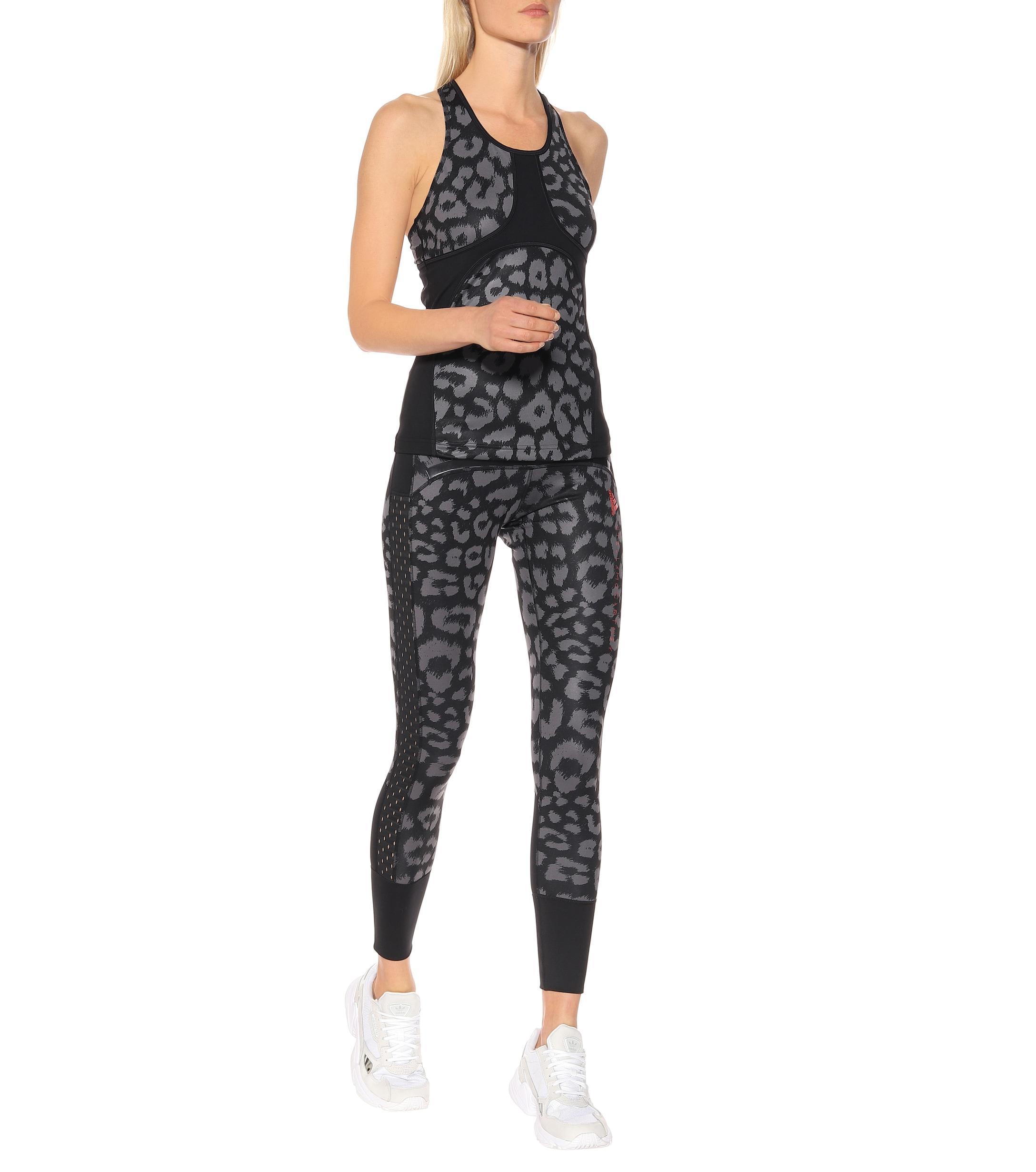 cc0bdc4fb68167 Adidas By Stella McCartney - Black Comfort Leopard-print Tank Top - Lyst.  View fullscreen