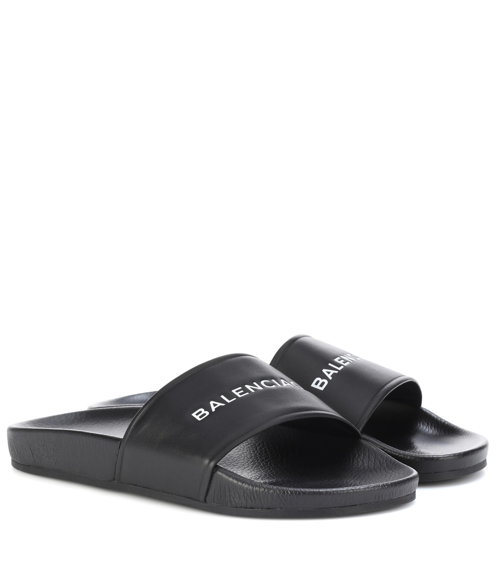 Balenciaga Black Logo Slides wEyUq