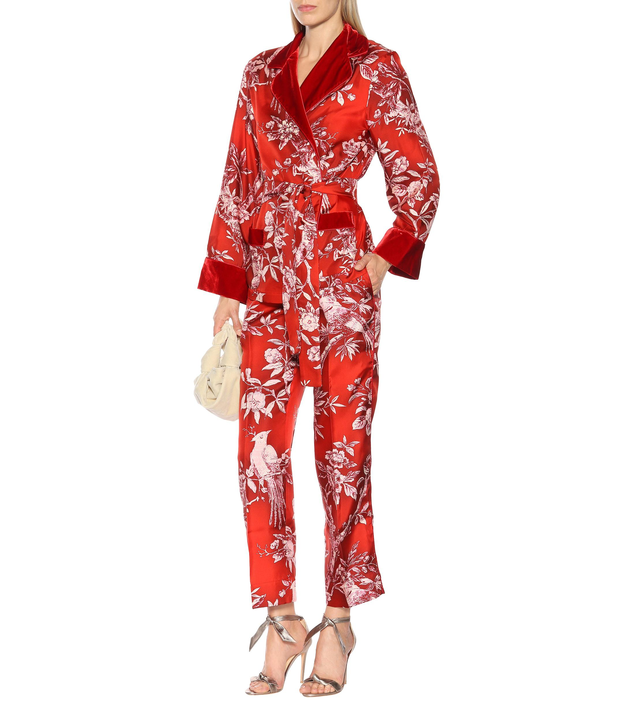 677fe64ee2 F.R.S For Restless Sleepers - Red Tartaro Printed Silk Pajama Pants - Lyst.  View fullscreen