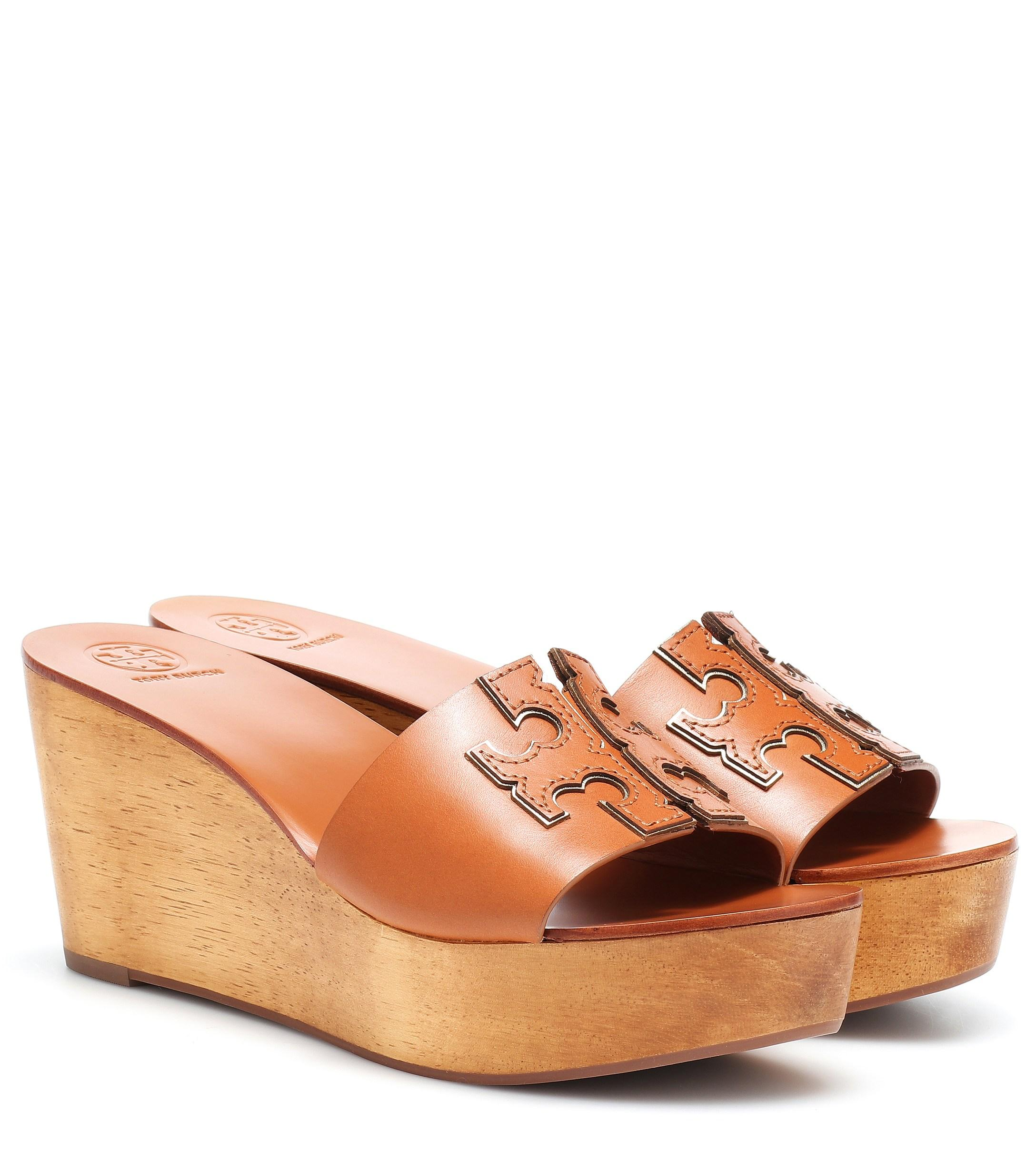 0f09cac22 Lyst - Tory Burch Ines 80mm Leather Wedge Sandals in Brown