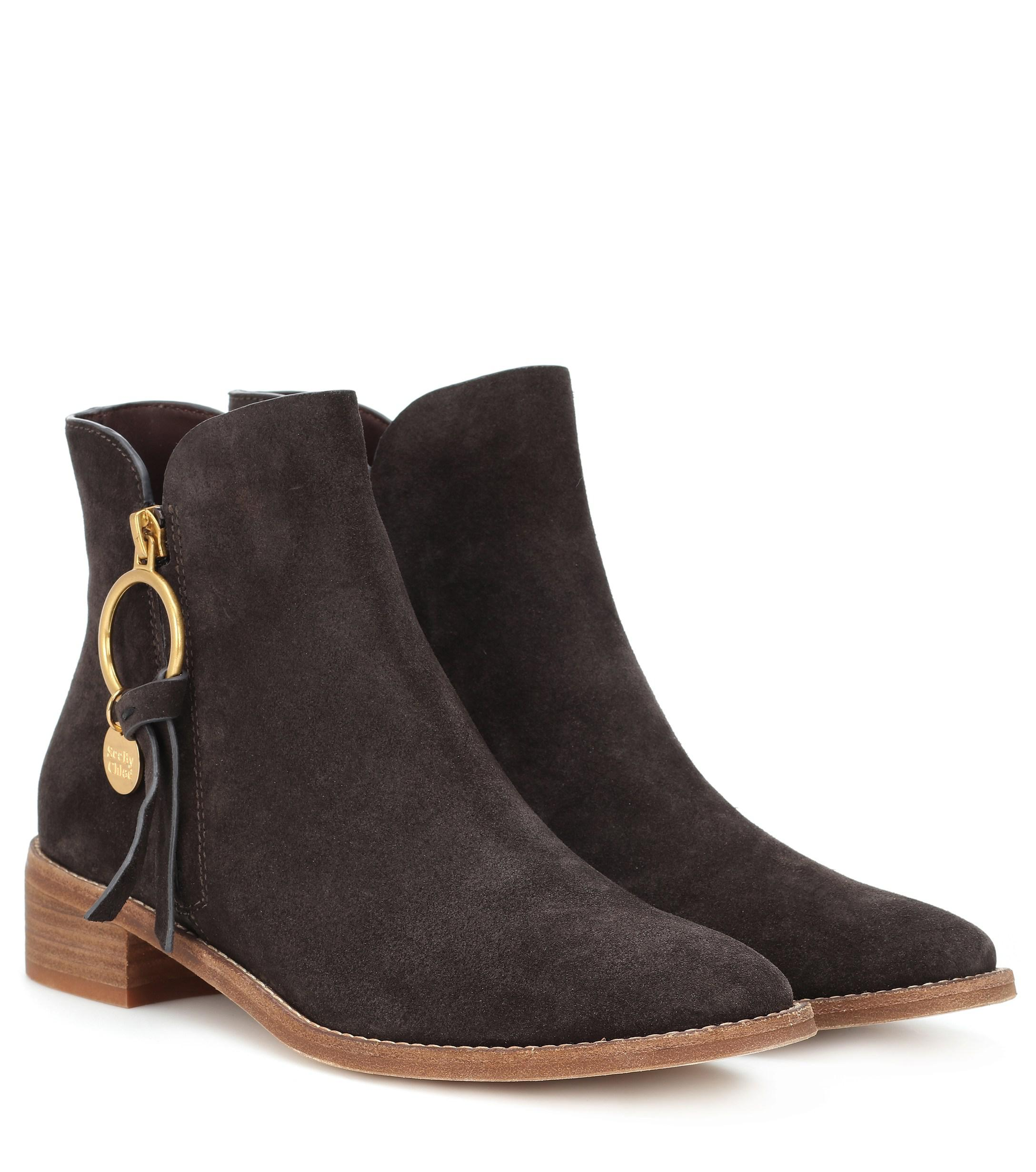 fb8cc2cc06883 Lyst - See By Chloé Louise Flat Suede Ankle Boots in Gray