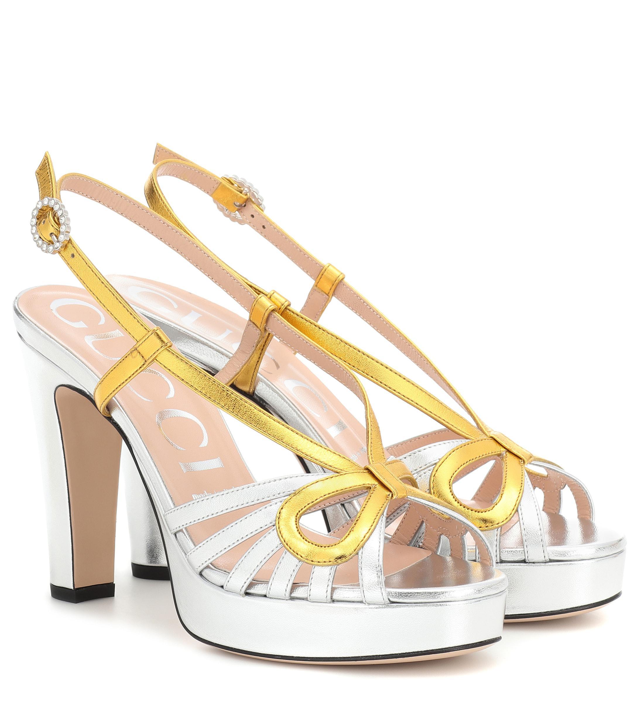 Lyst - Sandalias con plataforma de pìel Gucci de color Metálico 6ffd27b7558