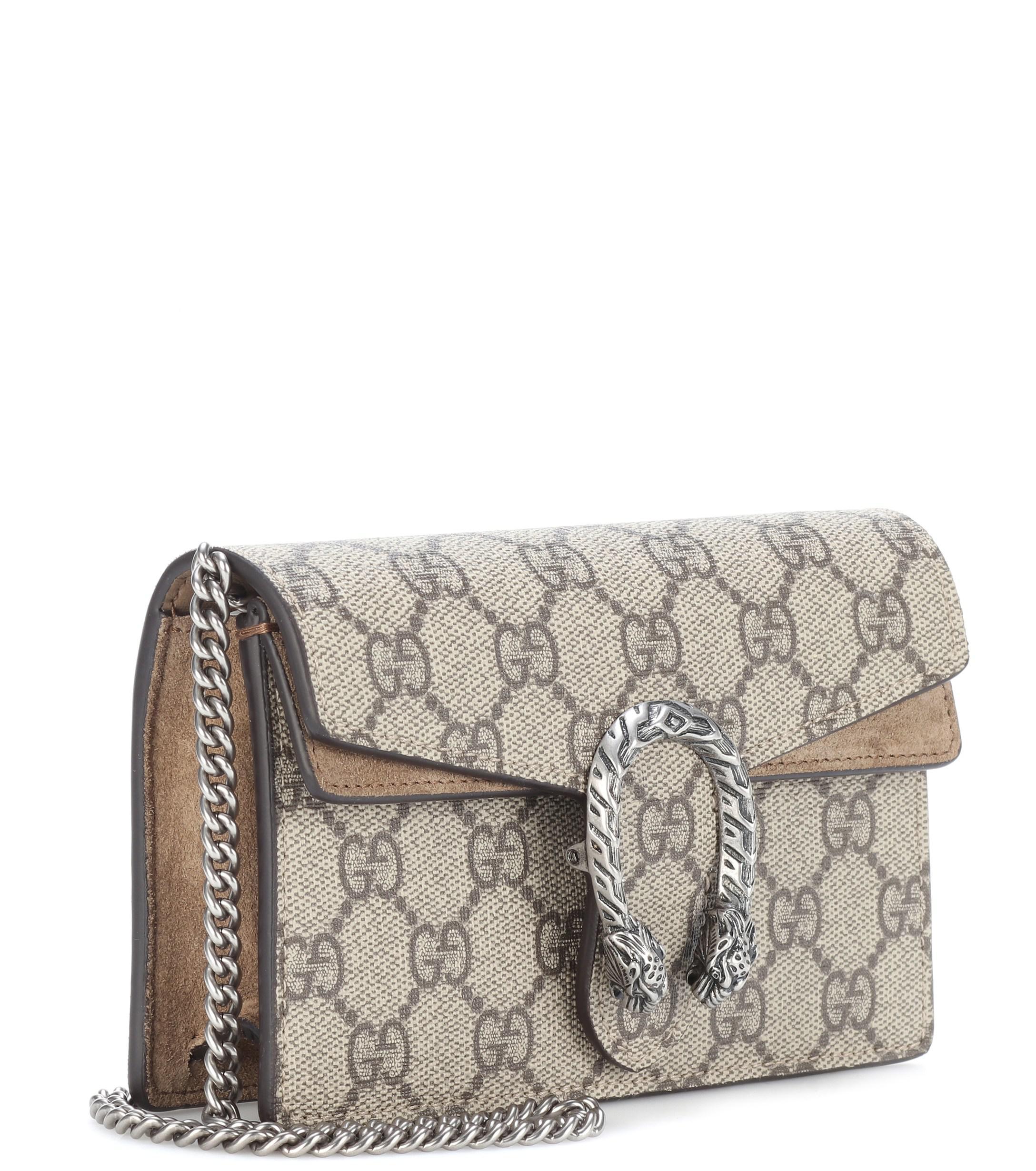 0ae6a5555b777 Lyst - Gucci Dionysus GG Supreme Super Mini Shoulder Bag in Natural