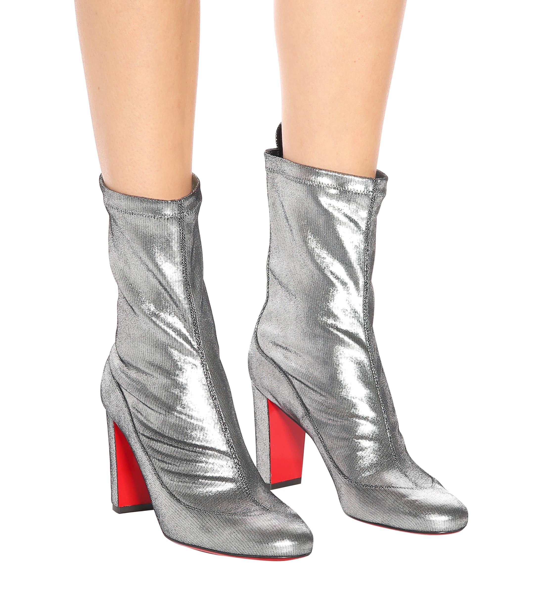aeff0ca27350 Christian Louboutin - Gena 85 Metallic Leather Boots - Lyst. View fullscreen