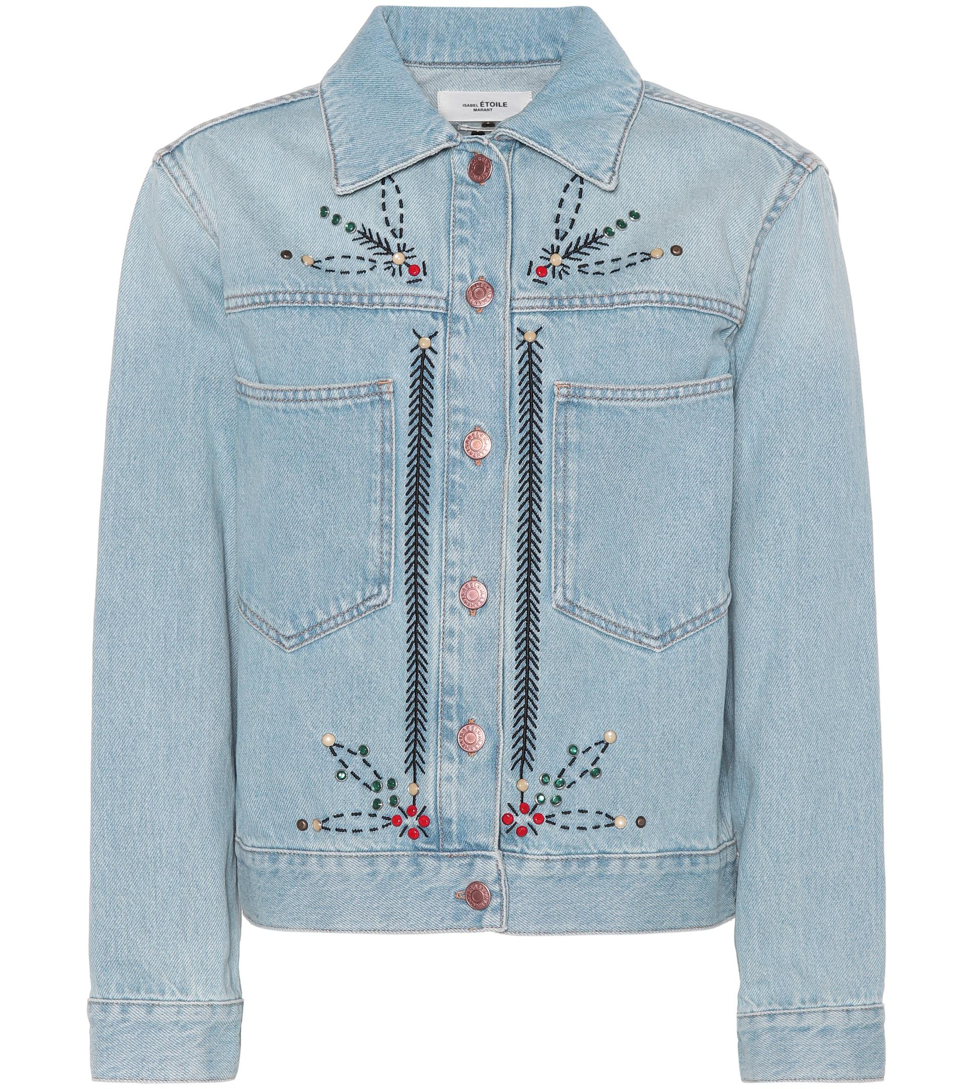 41aafff254 Étoile Isabel Marant Cabella Embellished Denim Jacket in Blue - Lyst