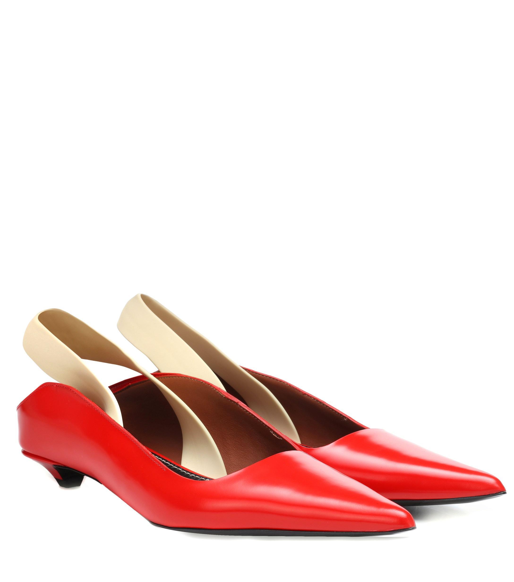 Wave Rojo Mules Destalonados De Piel Proenza Schouler Color Lyst 0wyOmN8vnP