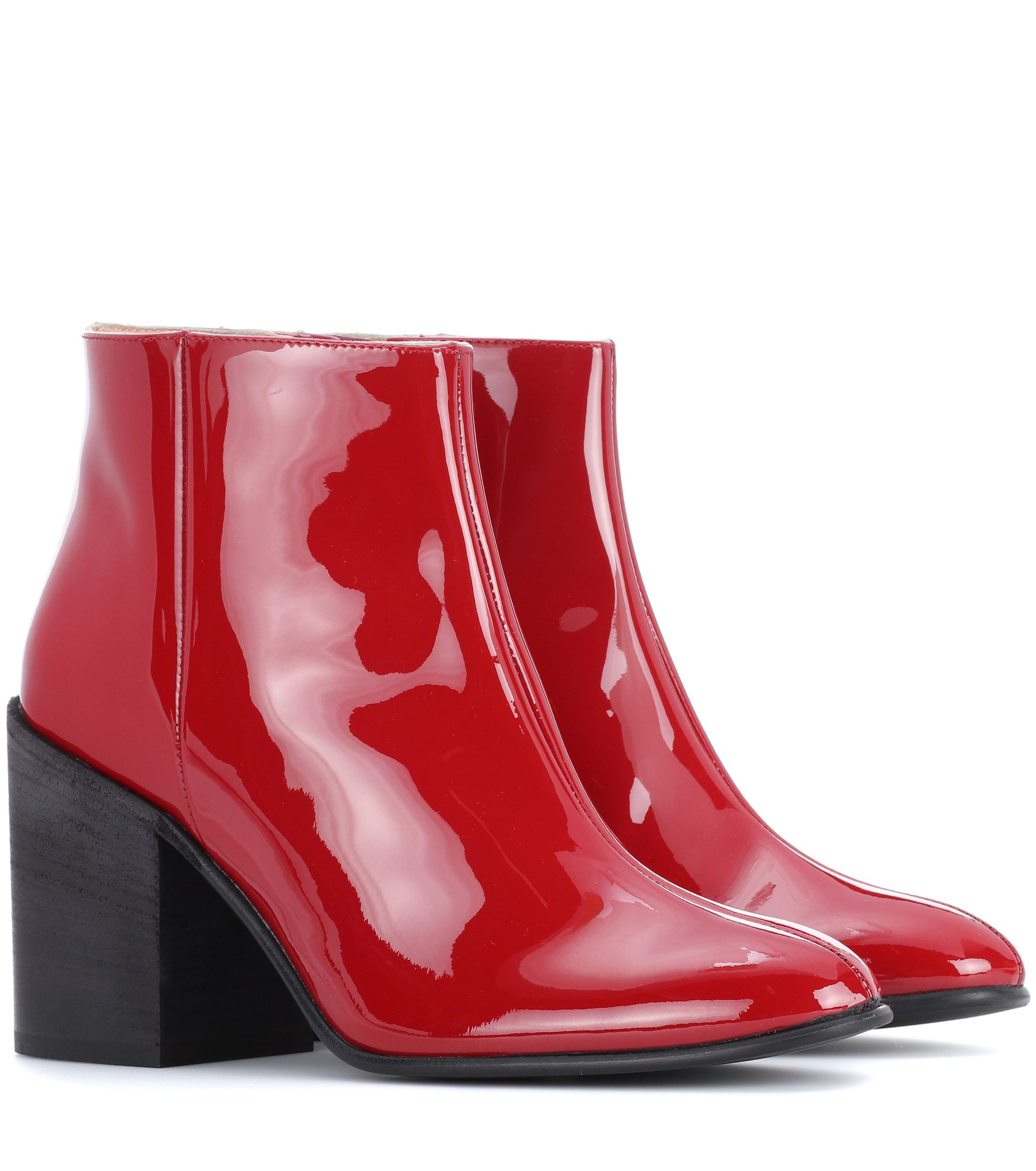9eb262871a47 Lyst - Acne Studios Beth Patent Leather Ankle Boots in Red