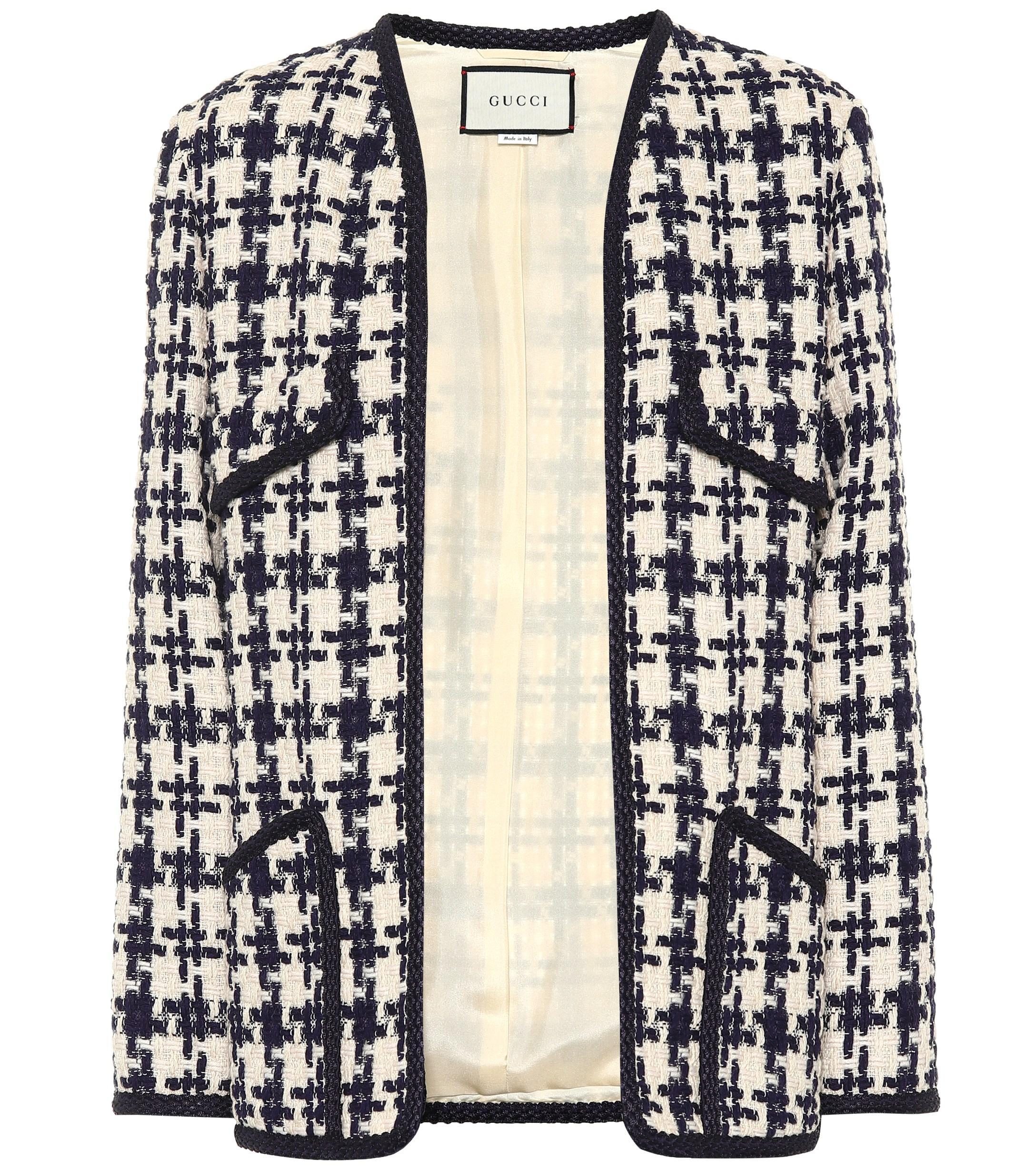 af05735d4e86c9 Gucci - Blue Houndstooth Tweed Wool-blend Jacket - Lyst. View fullscreen