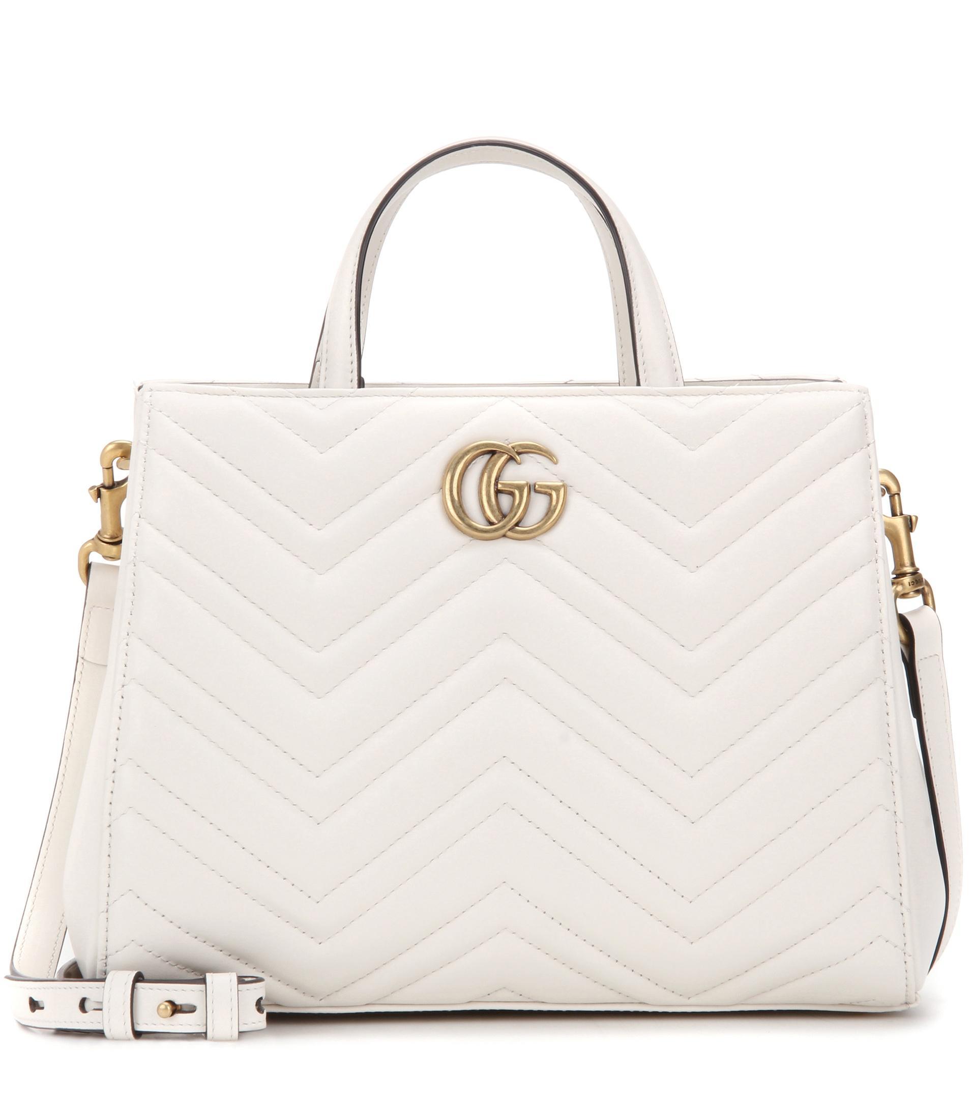 62c47998edb99 Lyst - Gucci Gg Marmont Small Matelassé Leather Tote in White
