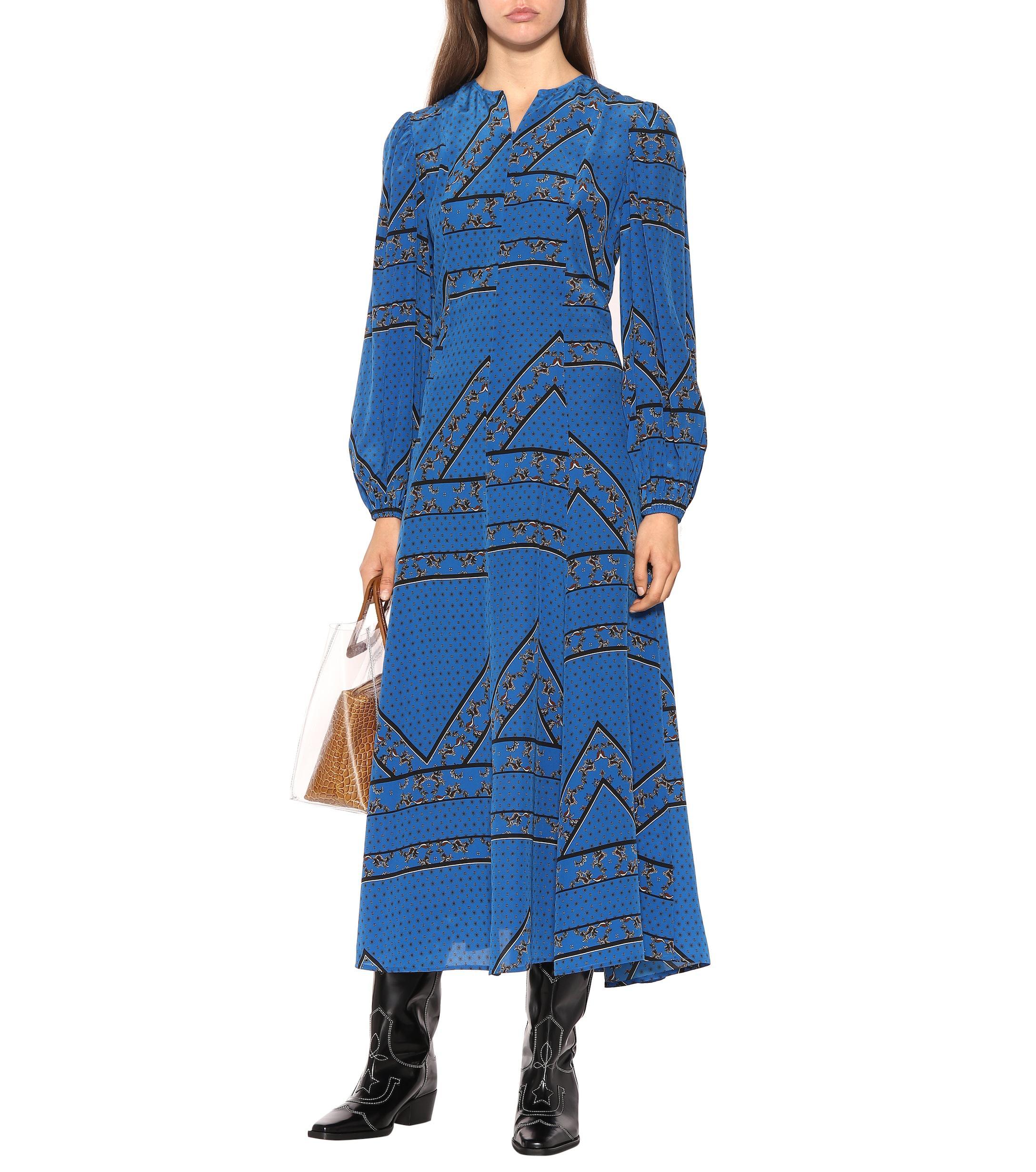 e6c02f947f1 Ganni - Blue Printed Silk Maxi Dress - Lyst. View fullscreen