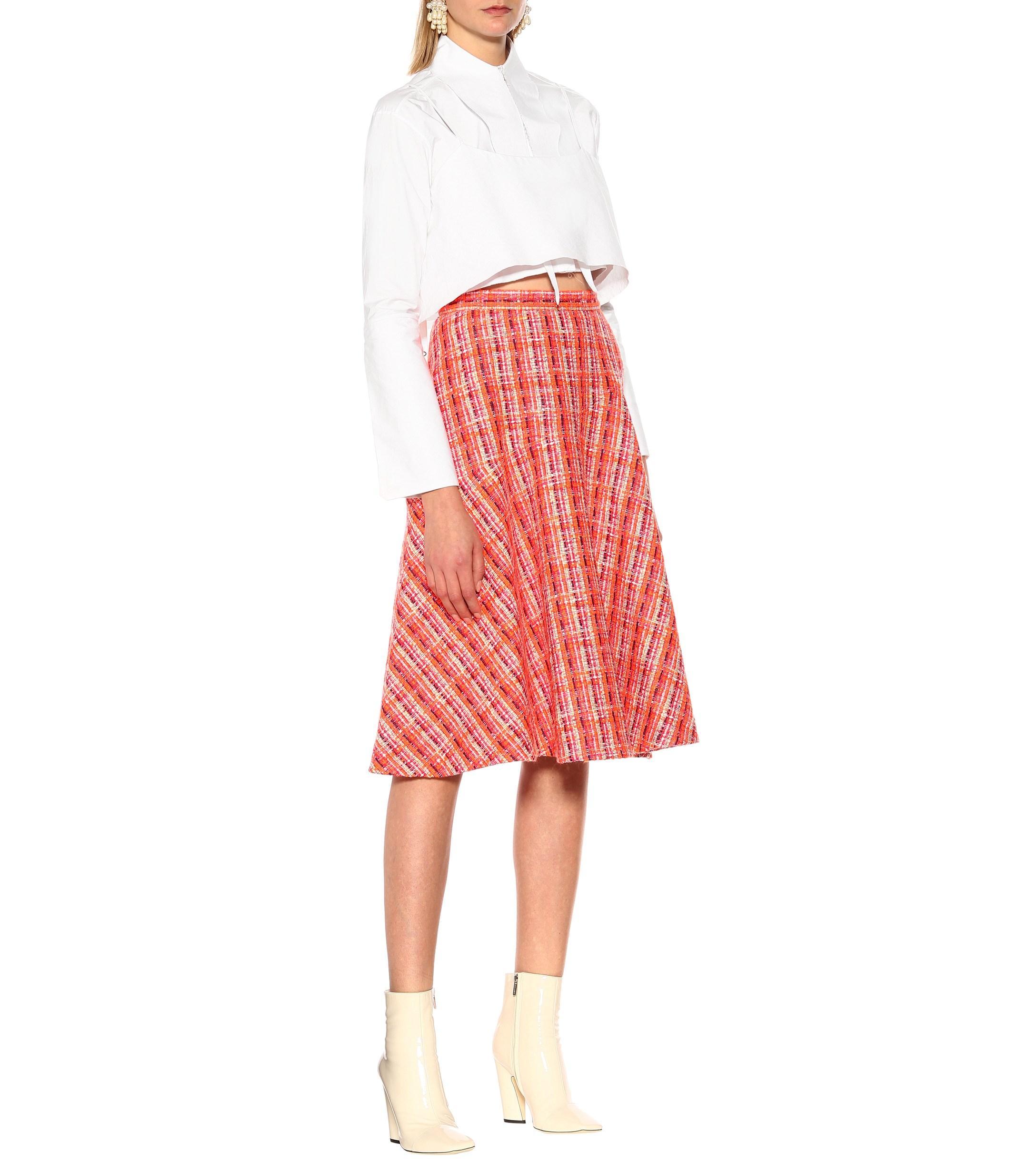 0ac68041ee Delpozo - Pink Tweed Midi Skirt - Lyst. View fullscreen
