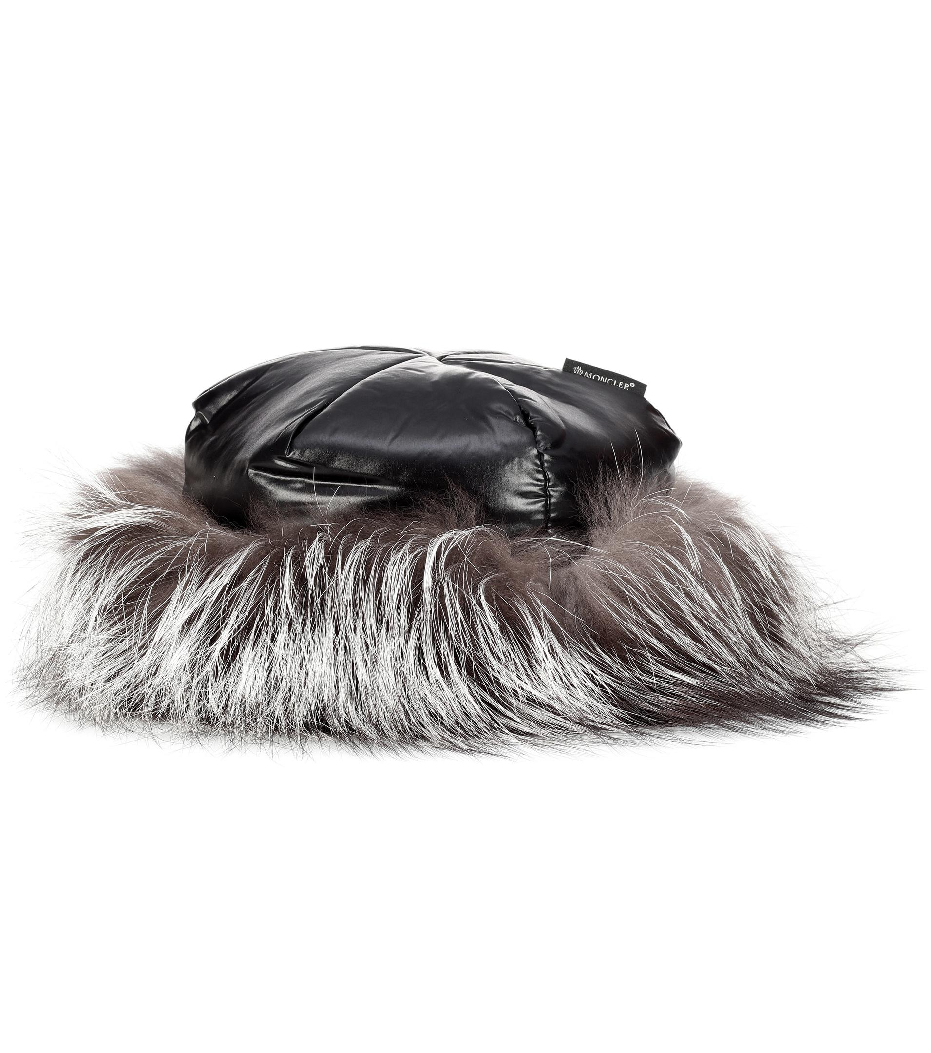 fd93596da Lyst - Moncler Fur-trimmed Hat in Black