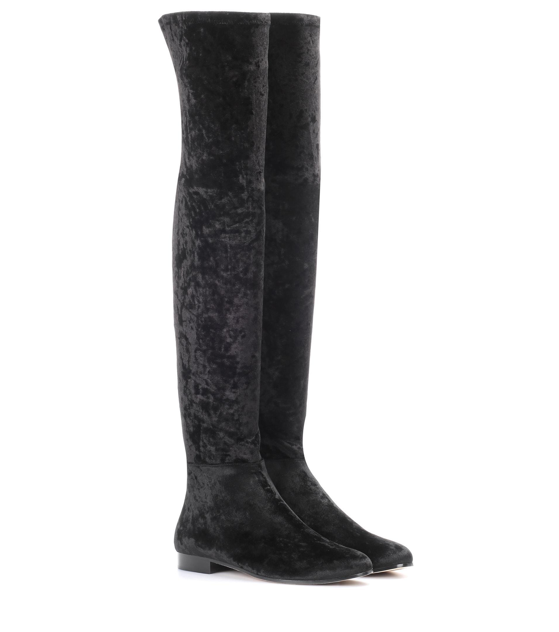 a4e5aeec2e4 Jimmy Choo Myren Flat Velvet Over-the-knee Boots in Black - Lyst