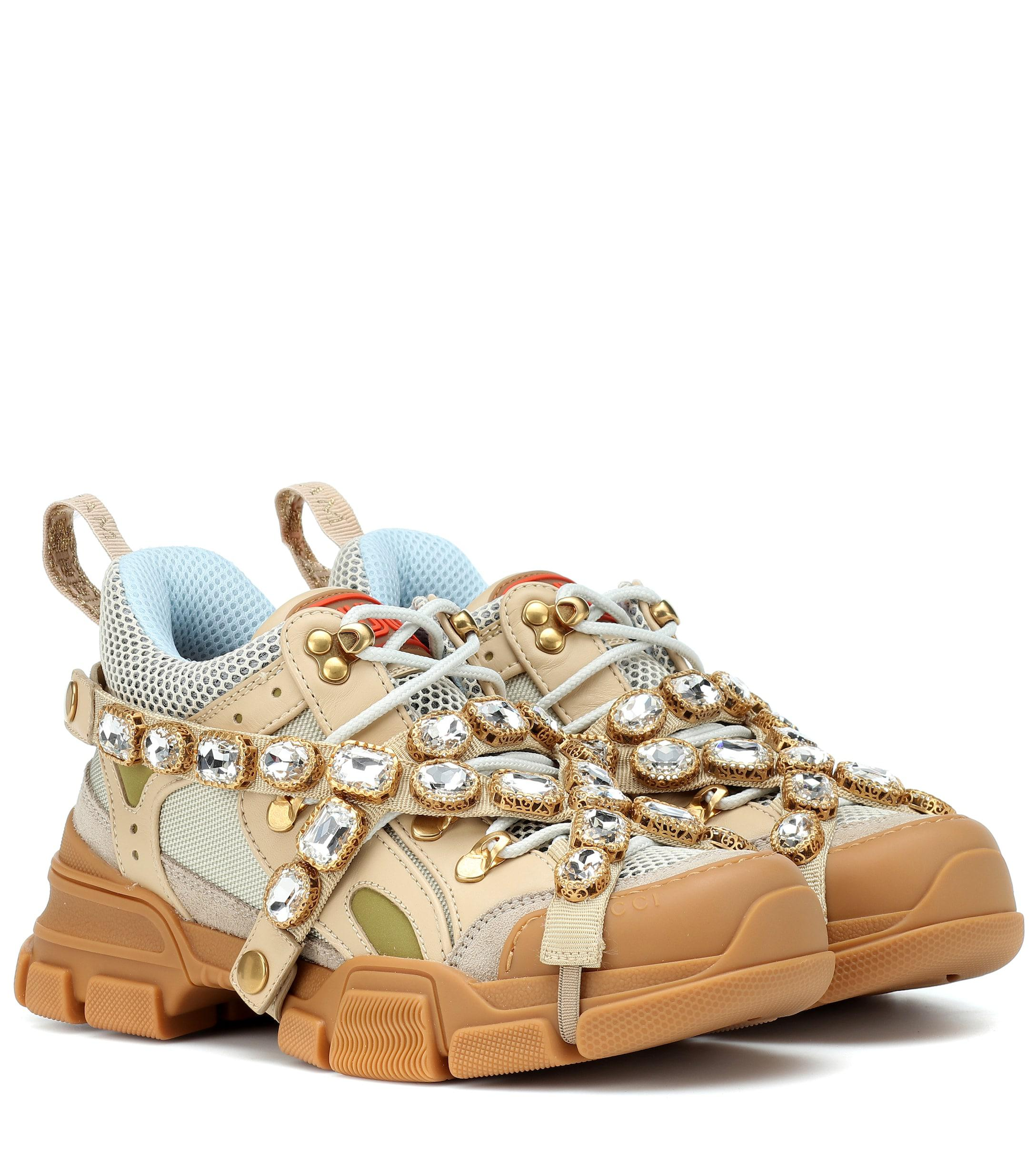 ac852c7535d3 Gucci Flashtrek Embellished Sneakers - Save 1% - Lyst